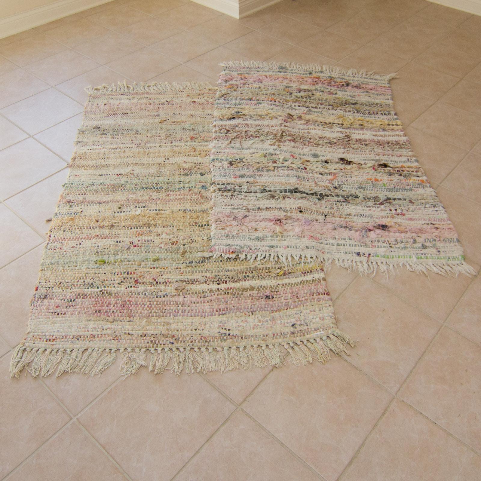 Two Handmade Woven Rag Rugs