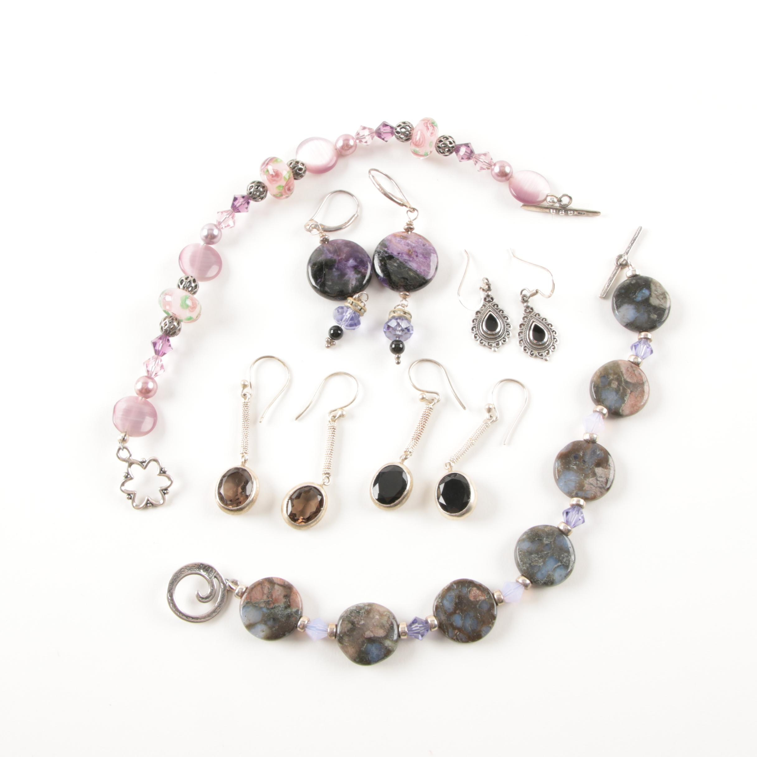 Sterling Silver Smoky Quartz, Agate, and Black Onyx Jewelry Selection