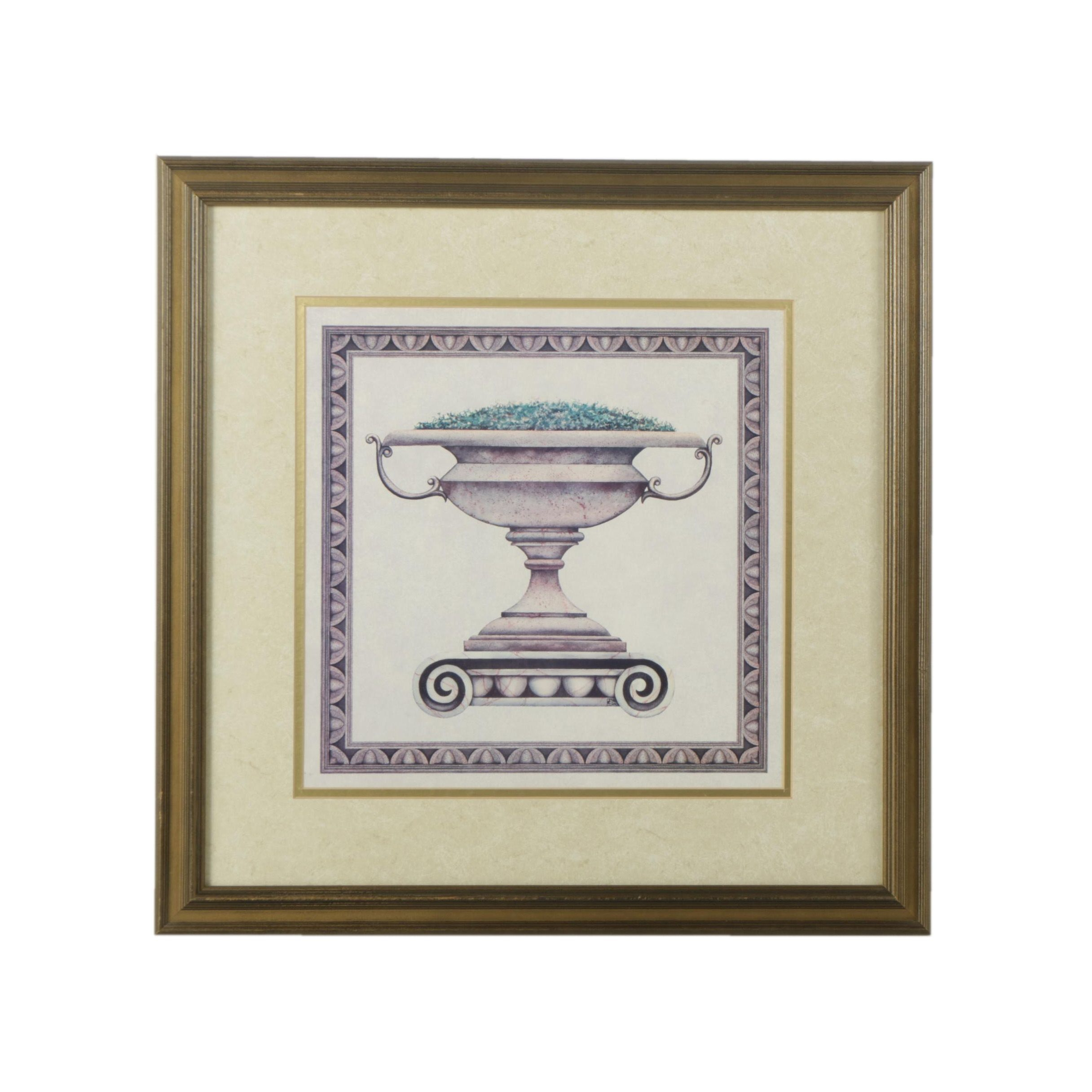 Offset Lithograph Print on Paper of Planter