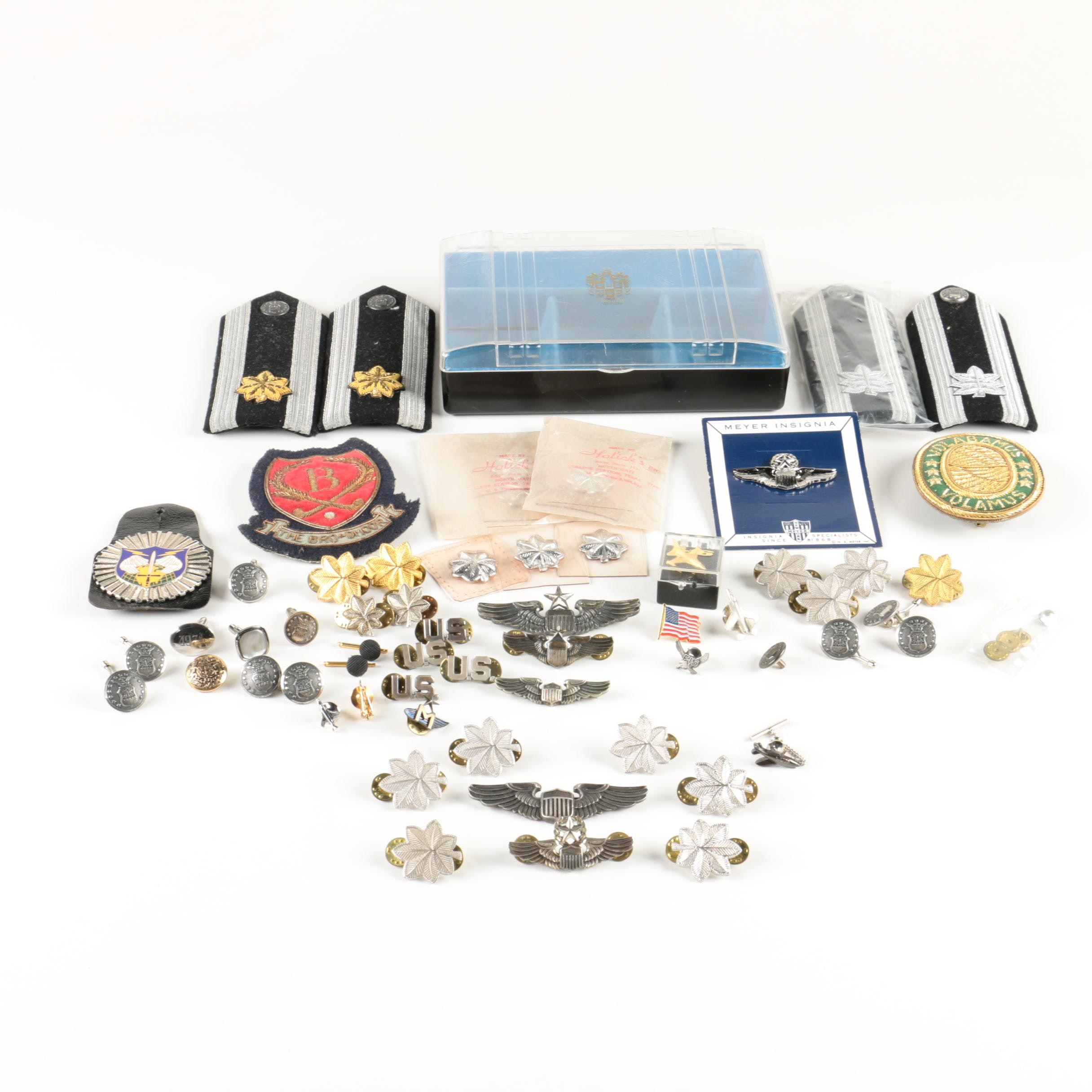 U.S. Armed Forces Sterling Silver and Metal Insignias, Pins and More