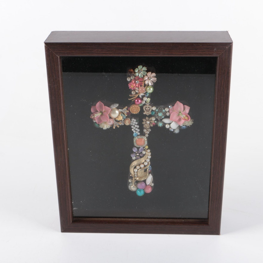 Decorative Shell And Costume Jewelry Collage Cross In Shadowbox
