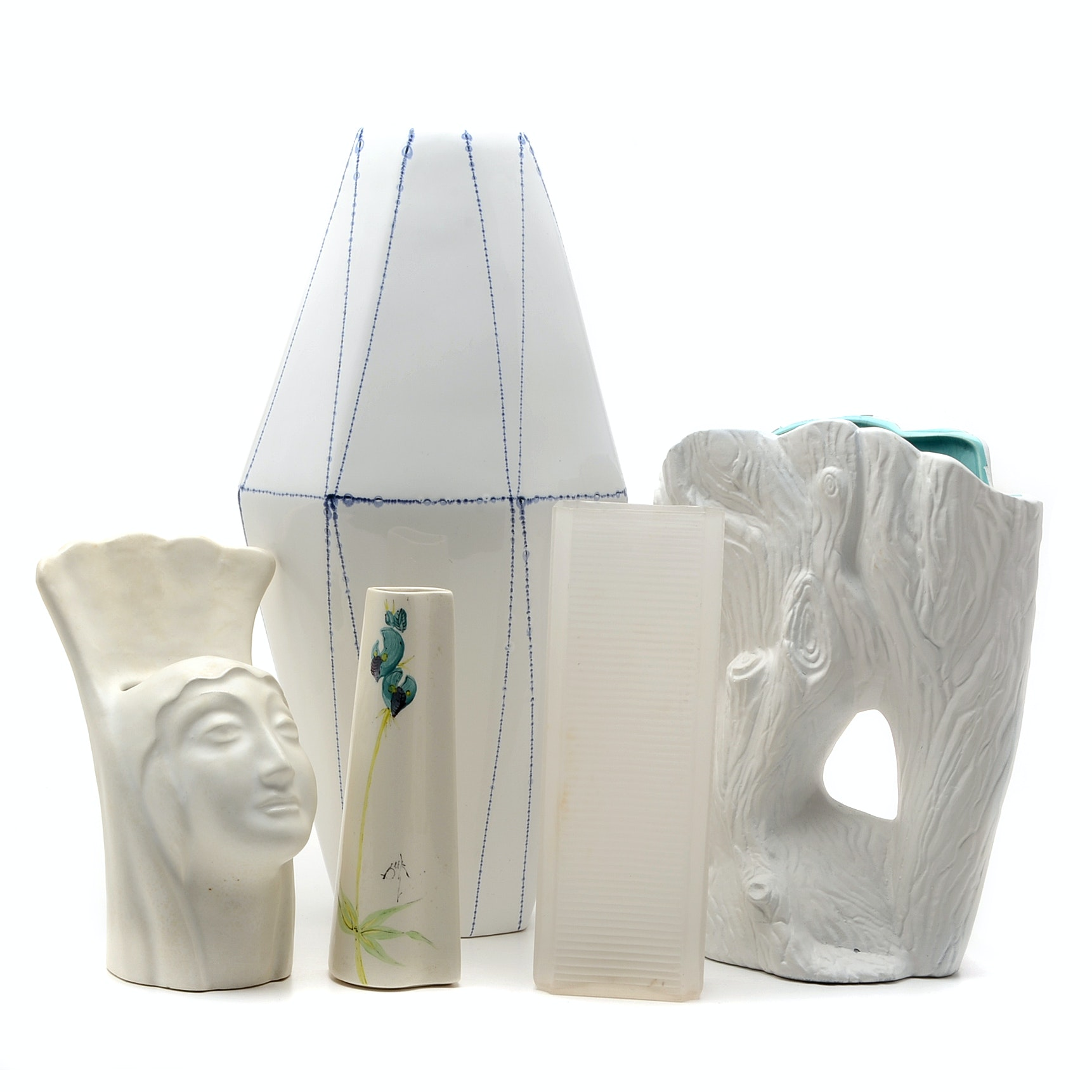 Grouping of White Tone Ceramic and Glass Vases