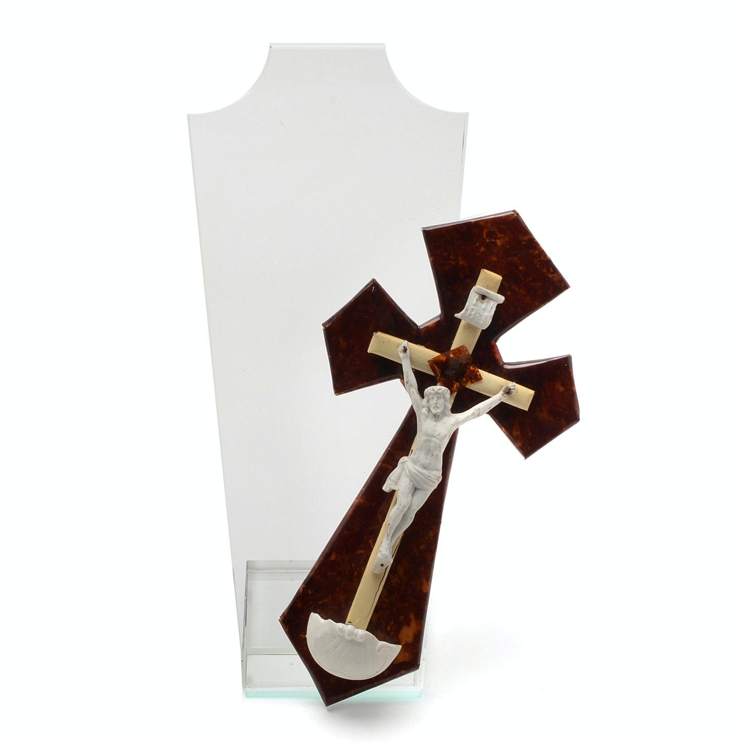 Vintage Irish Crucifix and Glass Neck Form