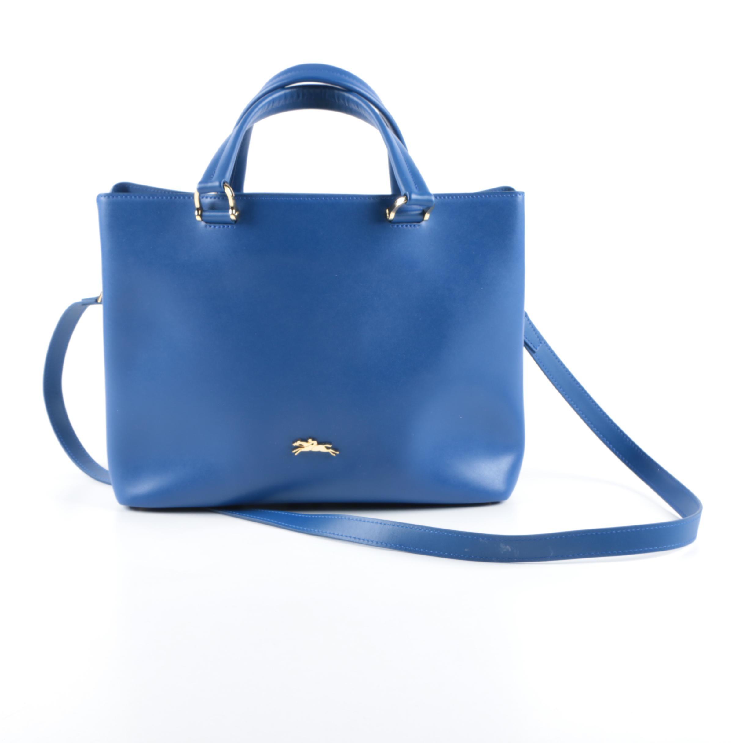 Longchamp Blue Leather Tote Bag