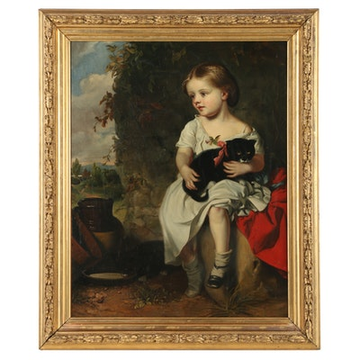 "John Thomas Peele Oil Painting ""Girl and Kitten"""