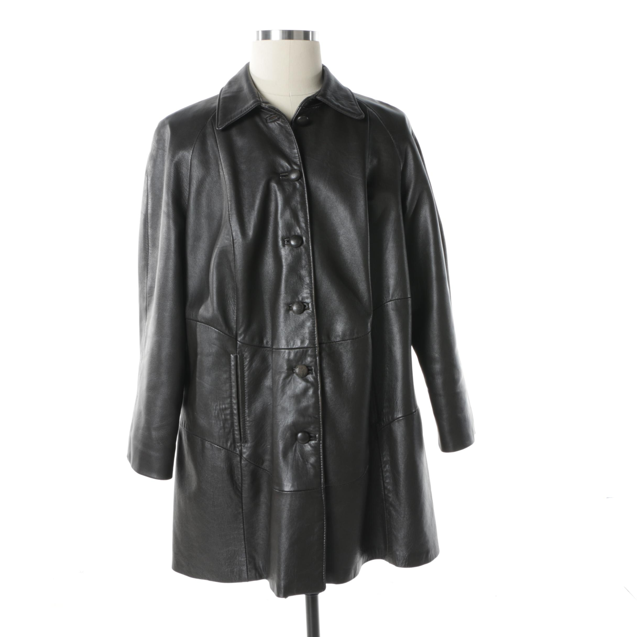 Women's The Leather Factory Black Leather Jacket