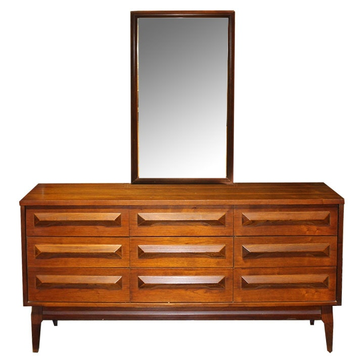 Mid Century Modern Dresser With Mirror By Coleman Furniture ...