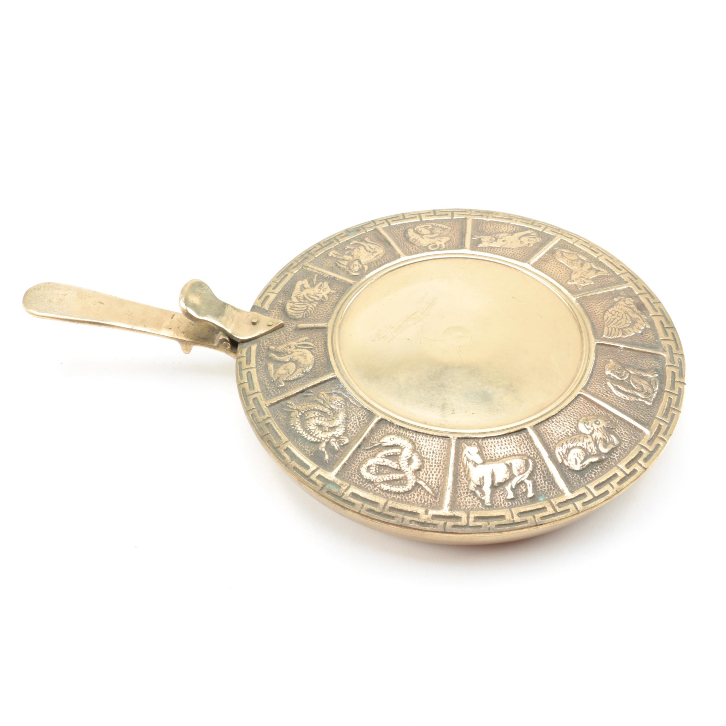 Chinese Brass Bed Warmer with Zodiac Motif