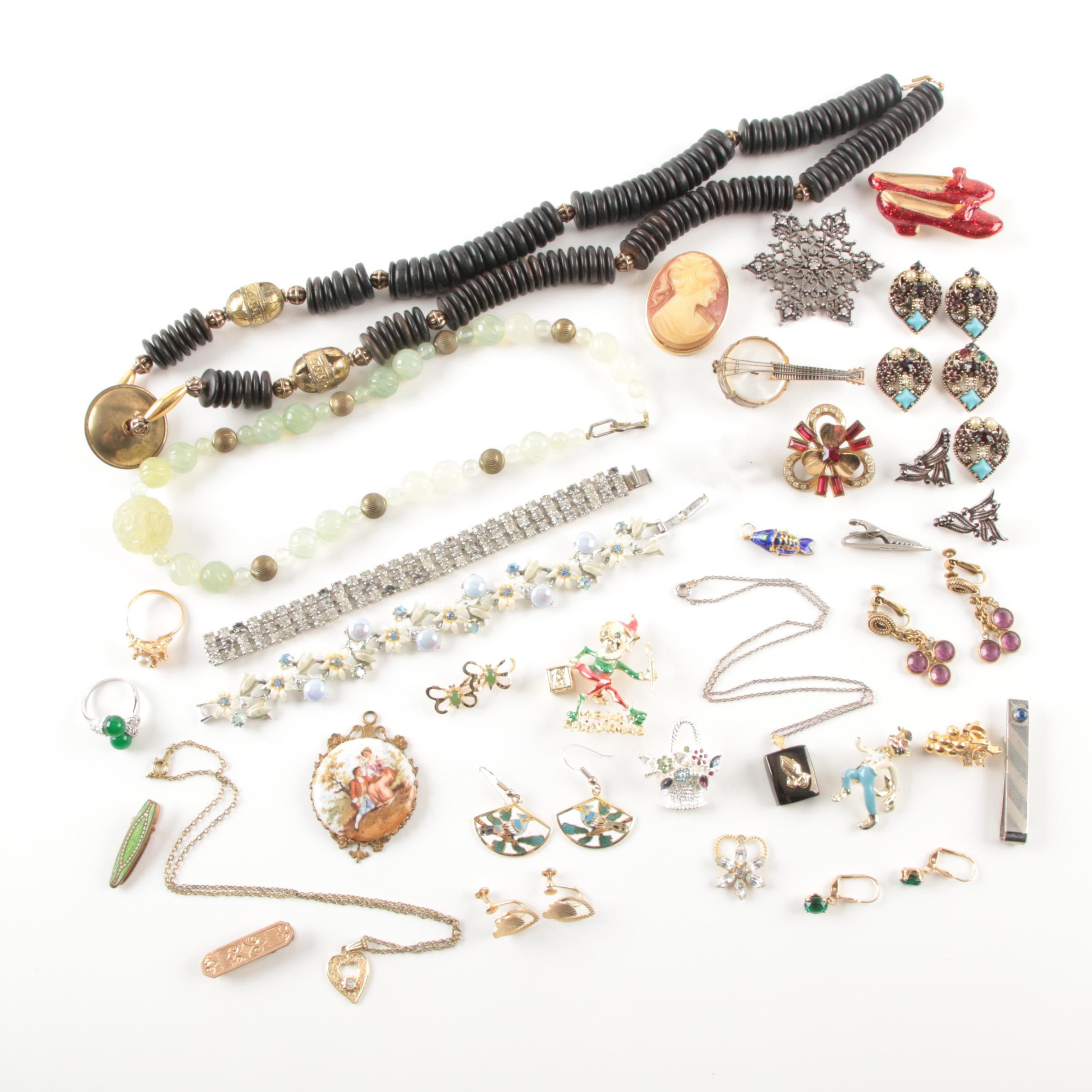 Holly Craft and Napier Jewelry Selection Featuring Mother of Pearl and Jadeite