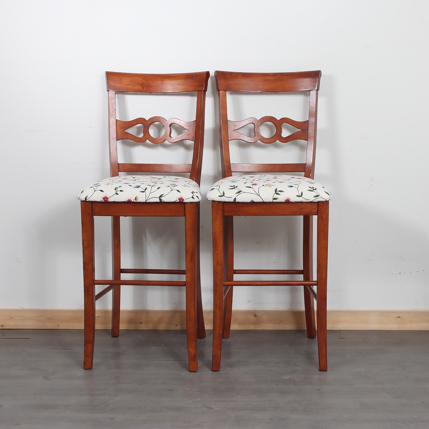 Two Upholstered Counter Stools