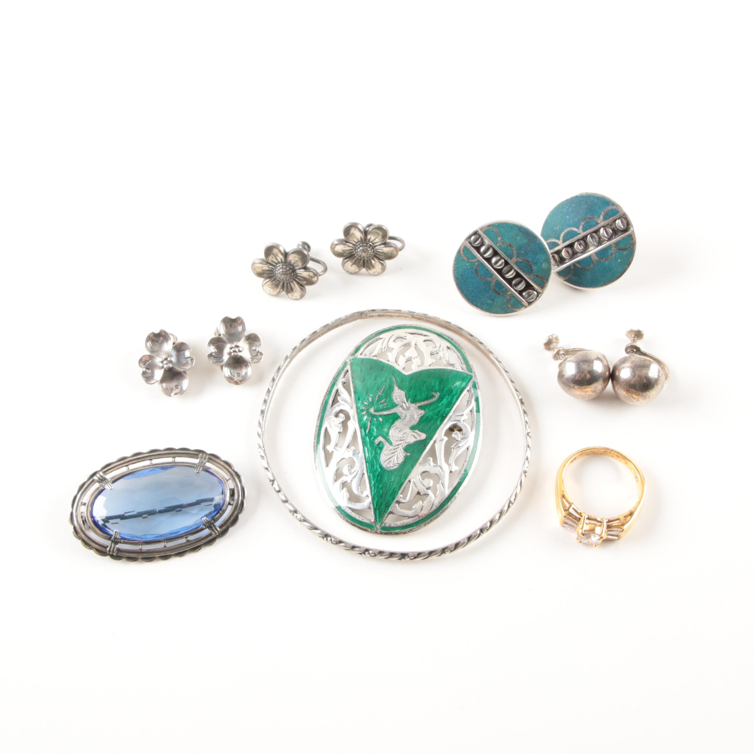 Sterling Silver Jewelry Selection Featuring Siam Green Enamel Brooch