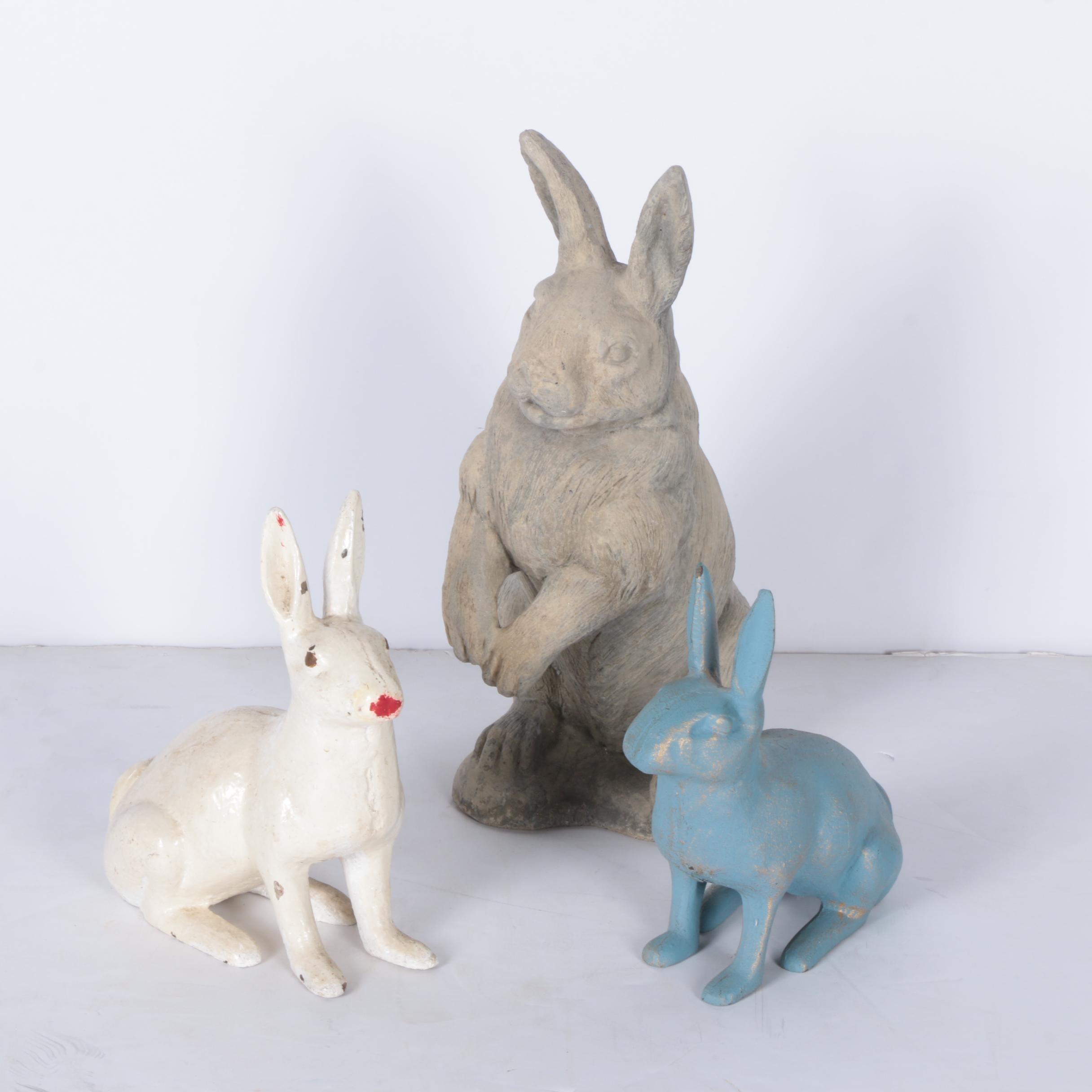 Cement Rabbit Garden Statues
