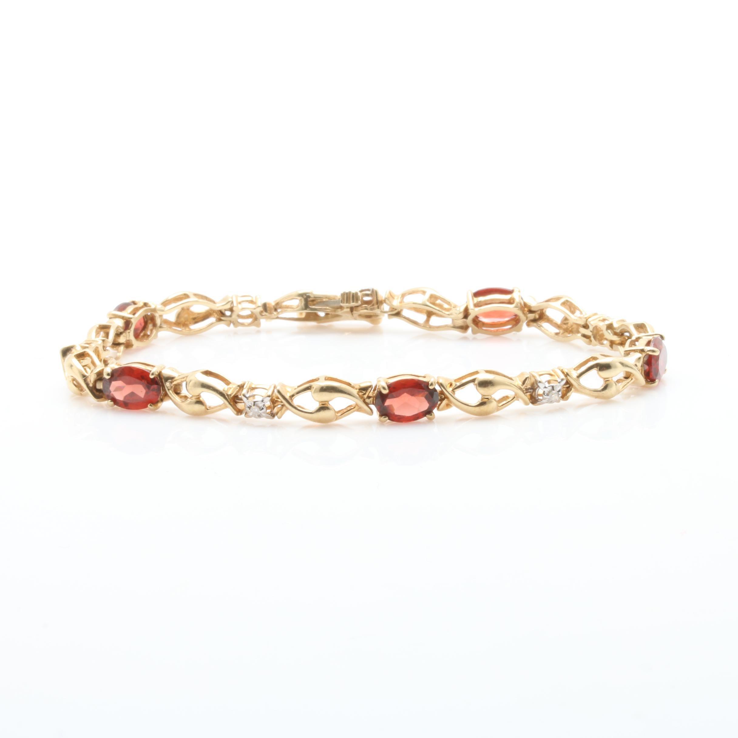 10K Yellow Gold Garnet and Diamond Bracelet