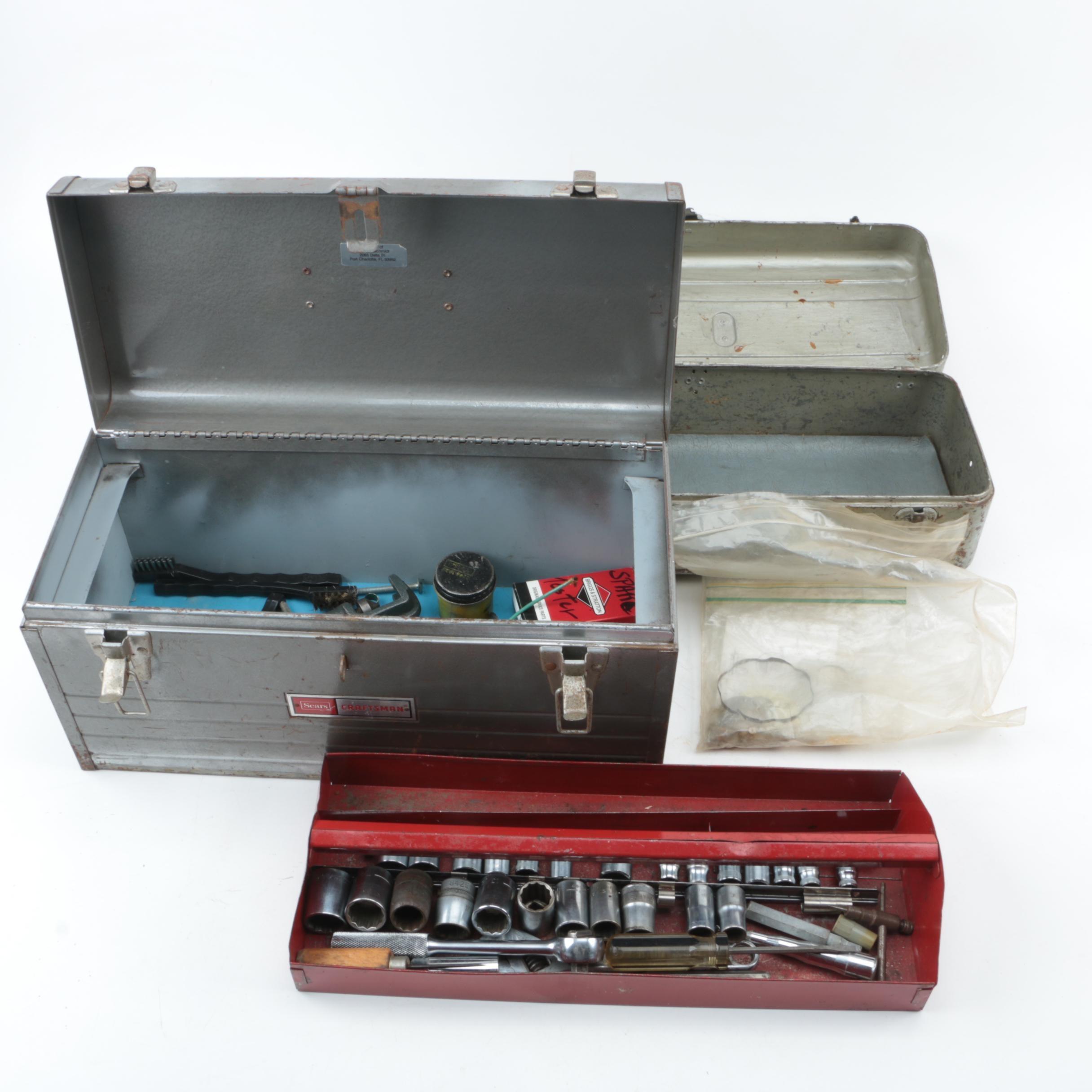 Vintage Metal Toolboxes and Tools