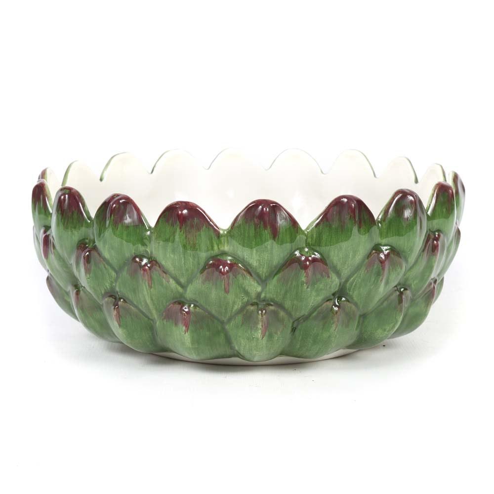Italian Ceramic Artichoke Centerpiece Bowl