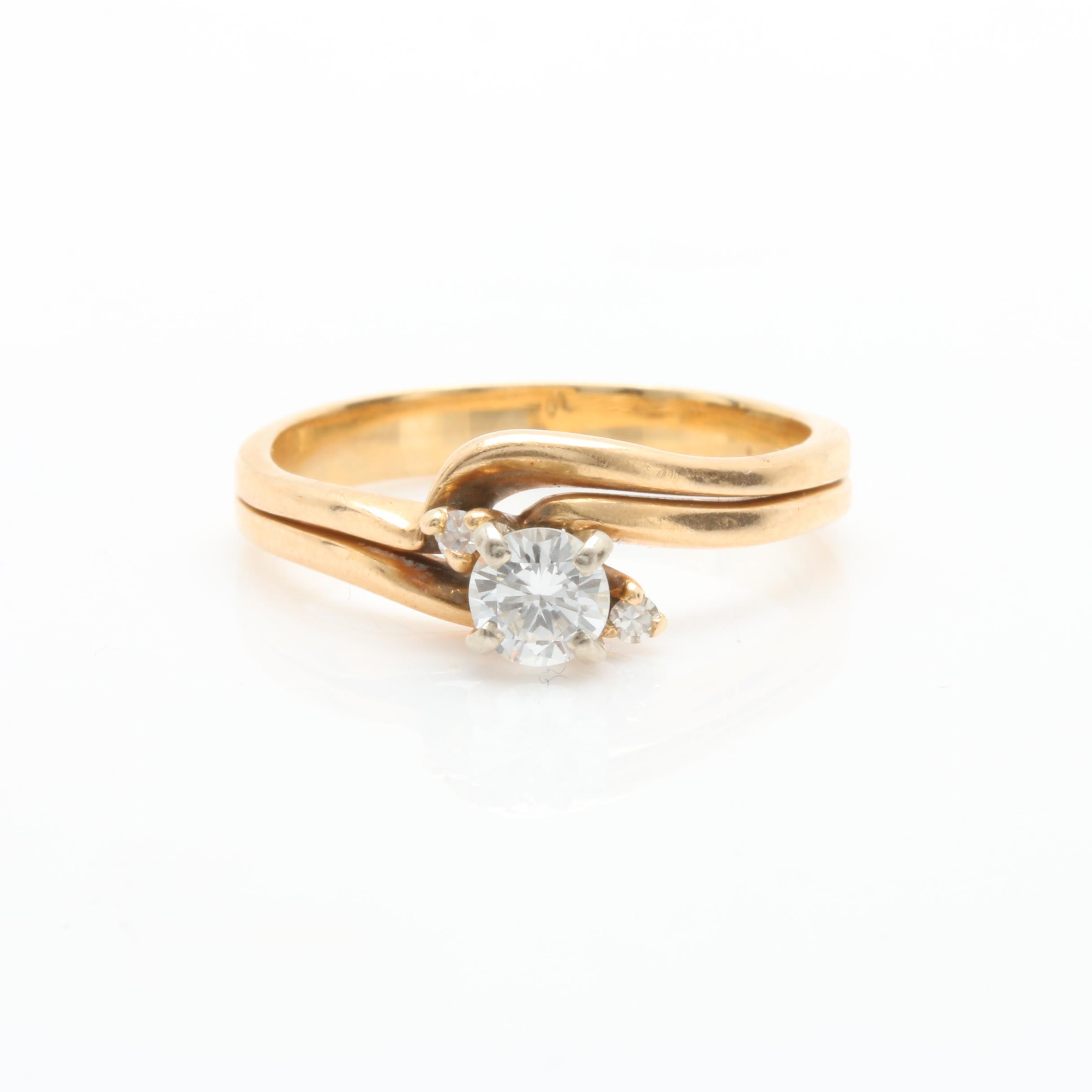 14K Yellow Gold Diamond Criss Cross Ring Set