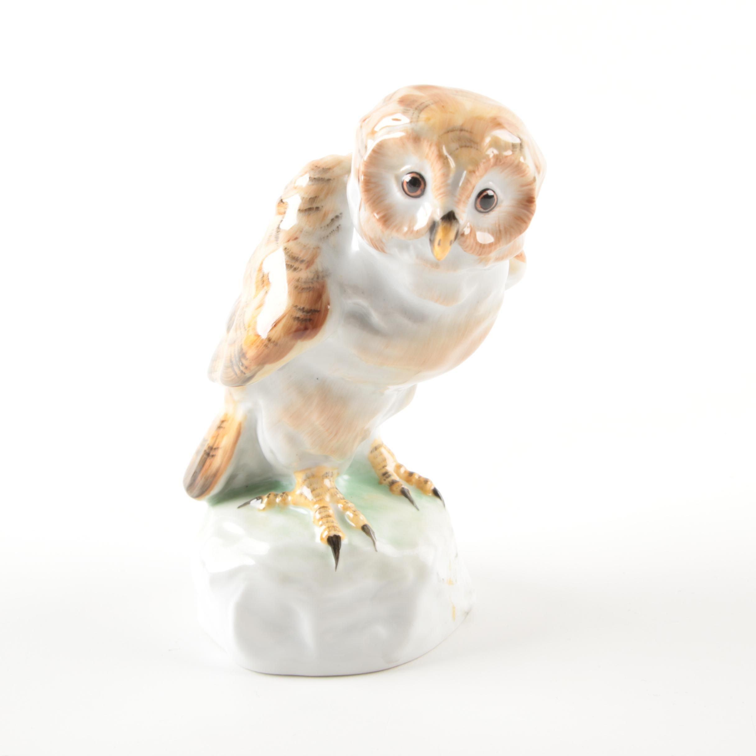 Vintage Herend Hungary Porcelain Barn Owl Figurine