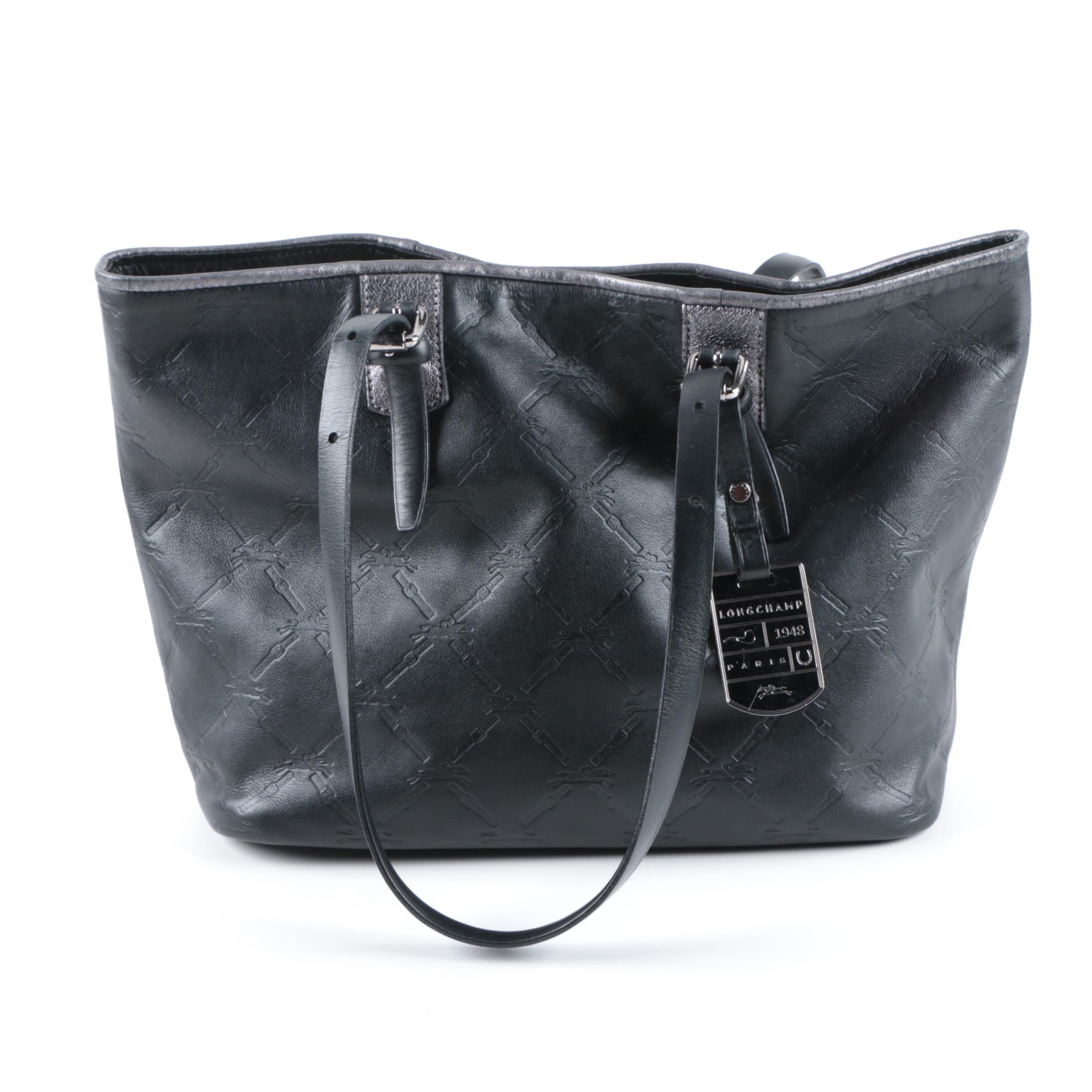 Longchamp Black Leather Tote Bag