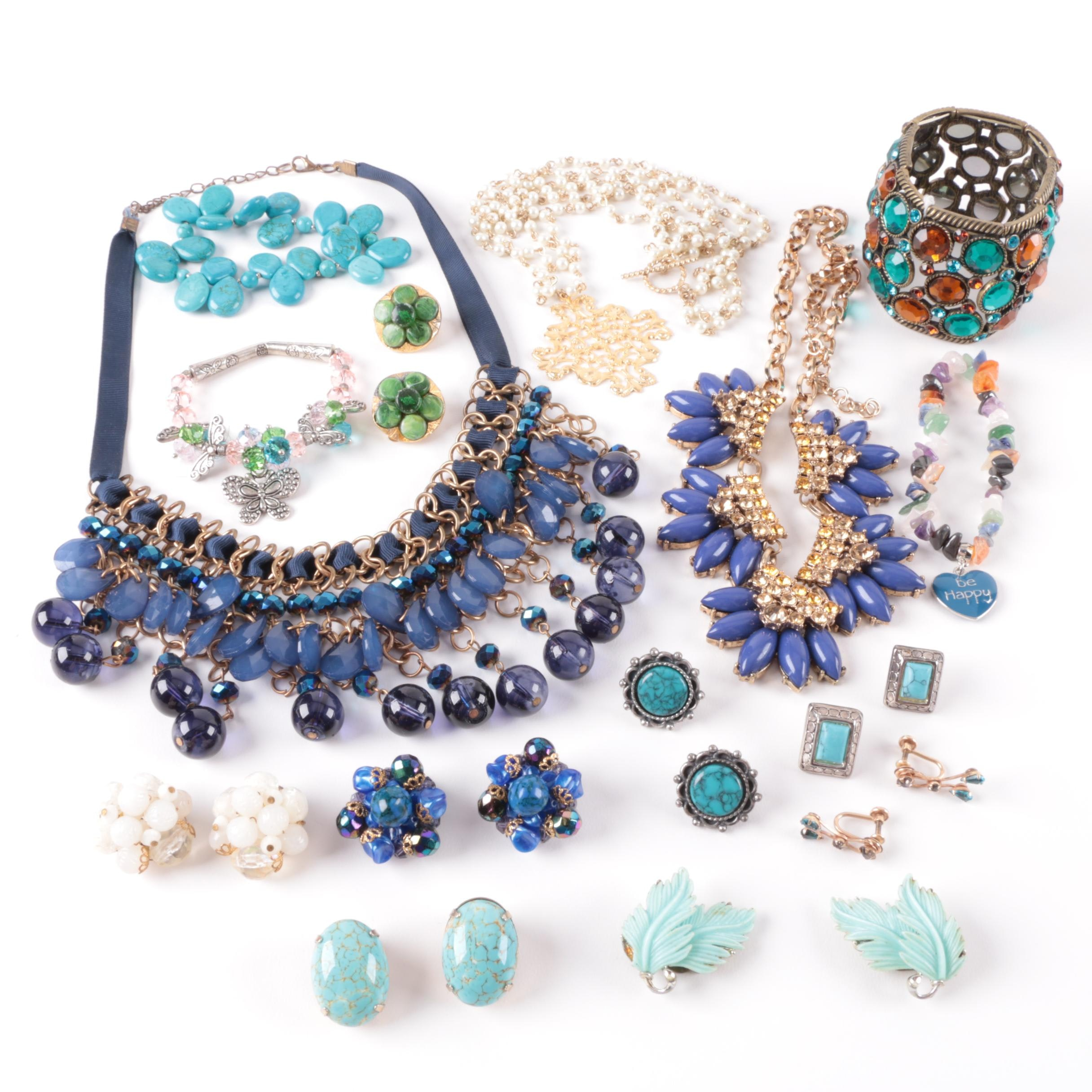 Amethyst, Agate, and Magnesite Jewelry Selection Including Lisner and Sancrest