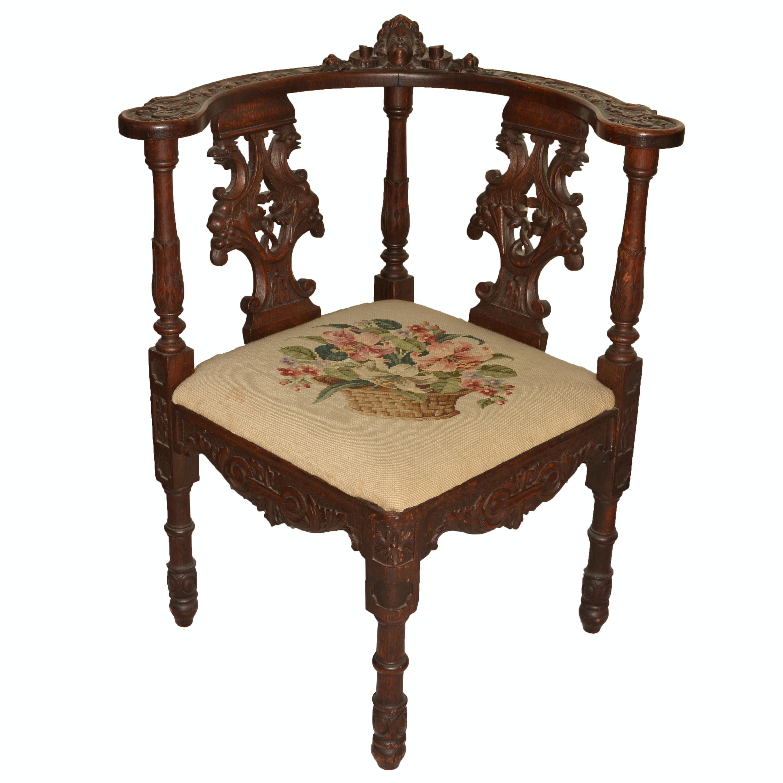 Late 19th Century Italian Oak Corner Chair