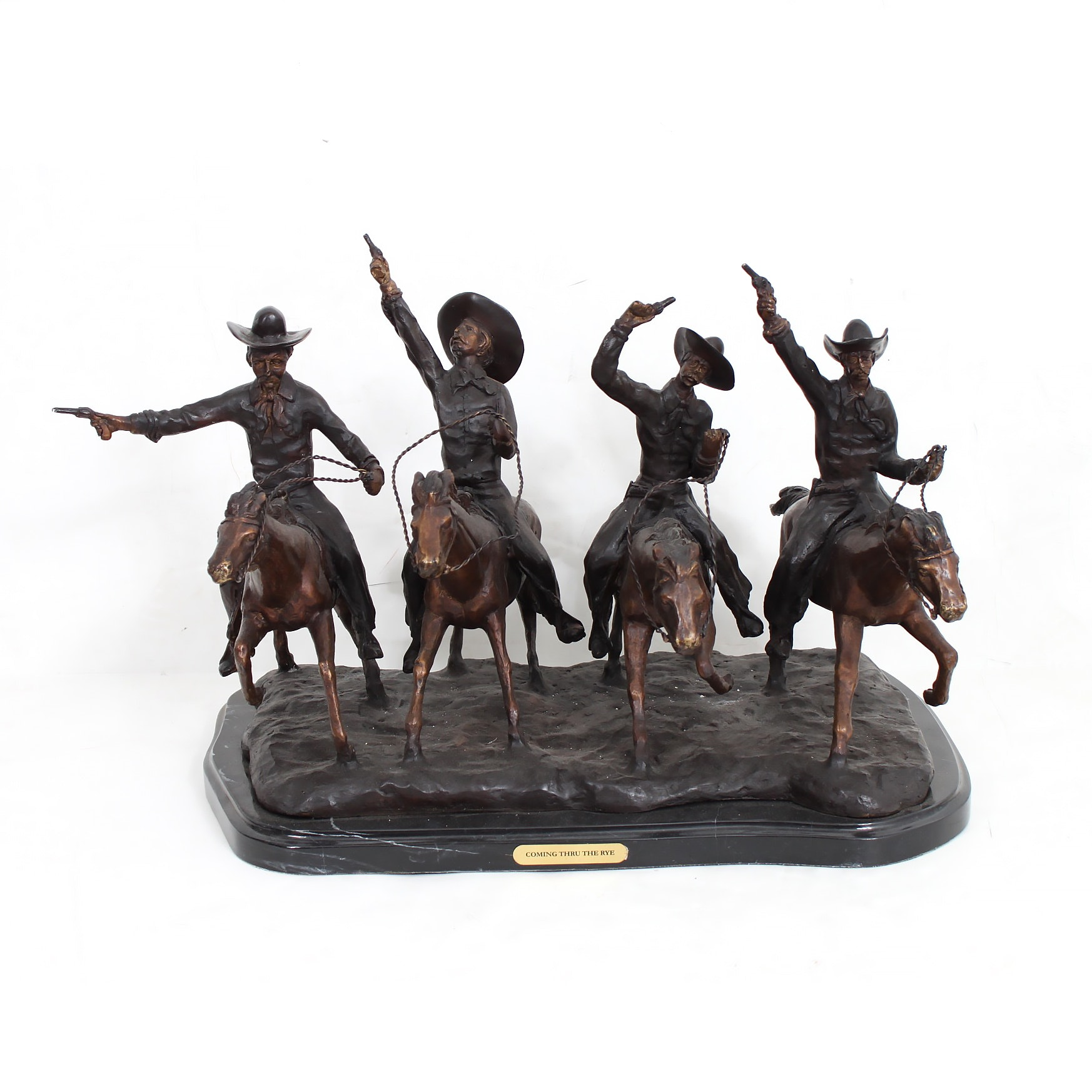 """Bronze Sculpture After Frederic Remington """"Coming Through The Rye"""""""