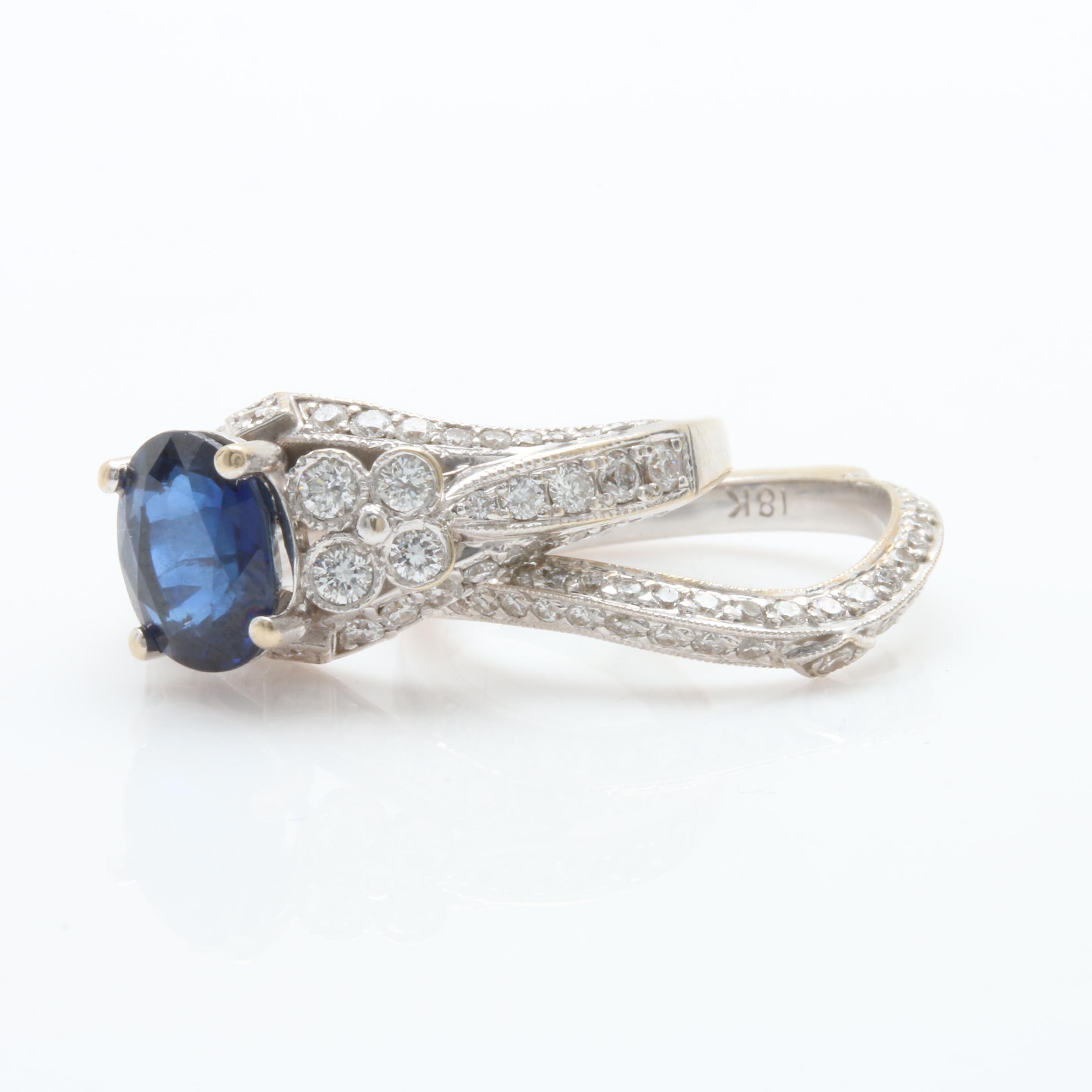 18K White Gold 1.73 CT Blue Sapphire and 1.09 CTW Diamond Ring Set