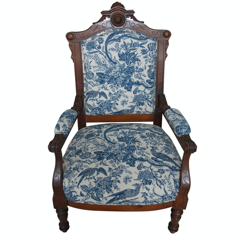 Victorian Renaissance-Revival Armchair in Blue Toile