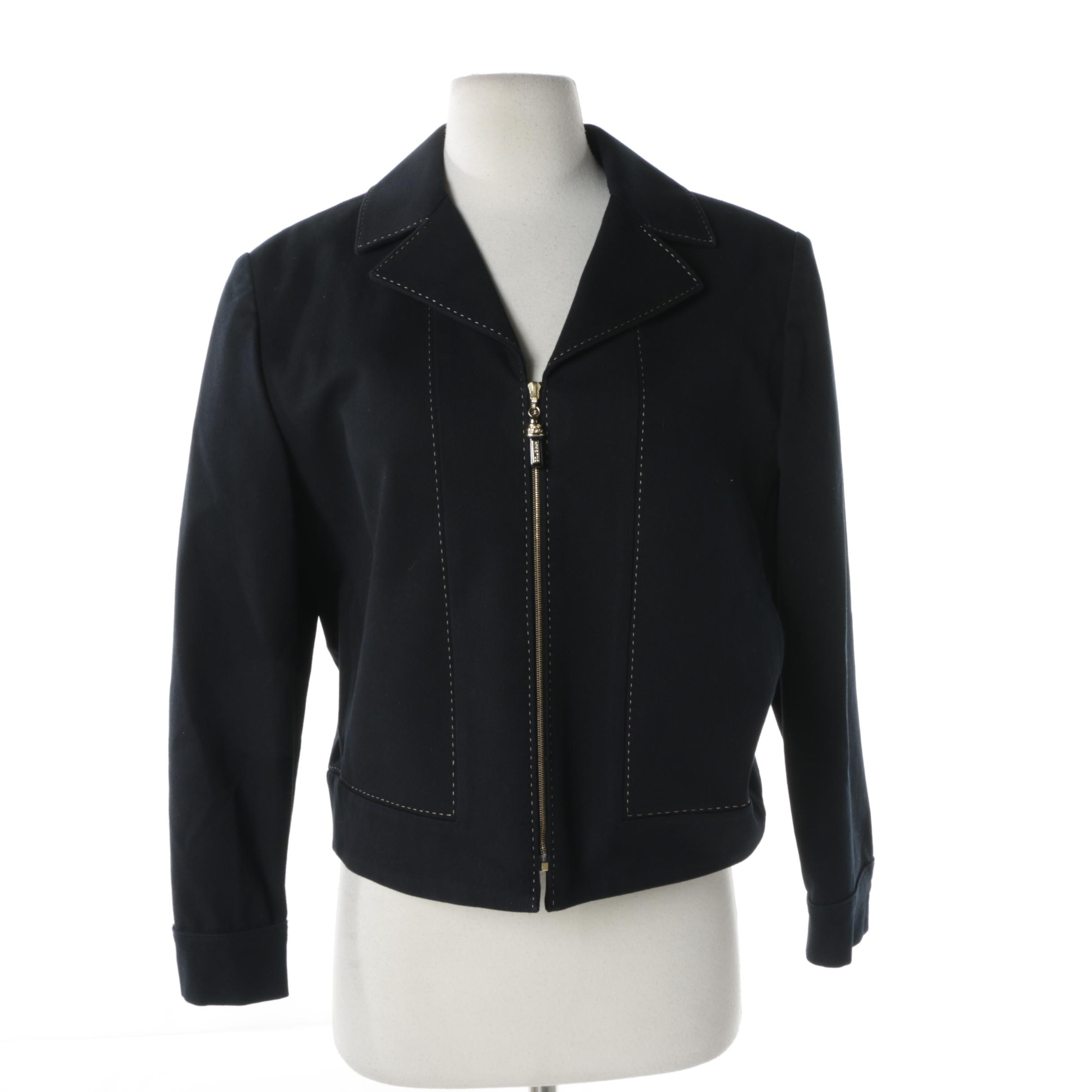 St. John Sport Black Zip Up Jacket with Contrast Stitching
