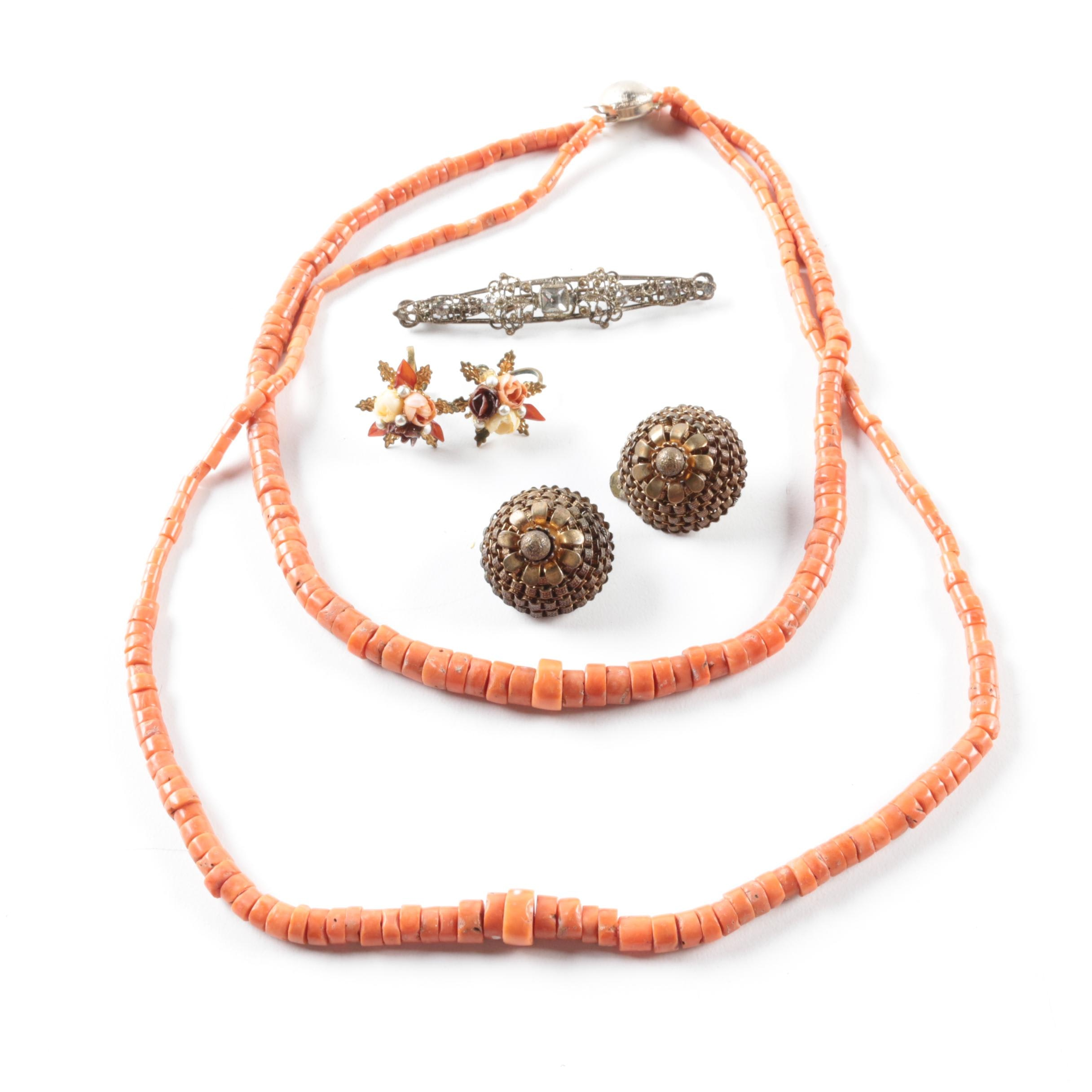 Costume Jewelry Selection Featuring Coral and Domed Miriam Haskell Earrings