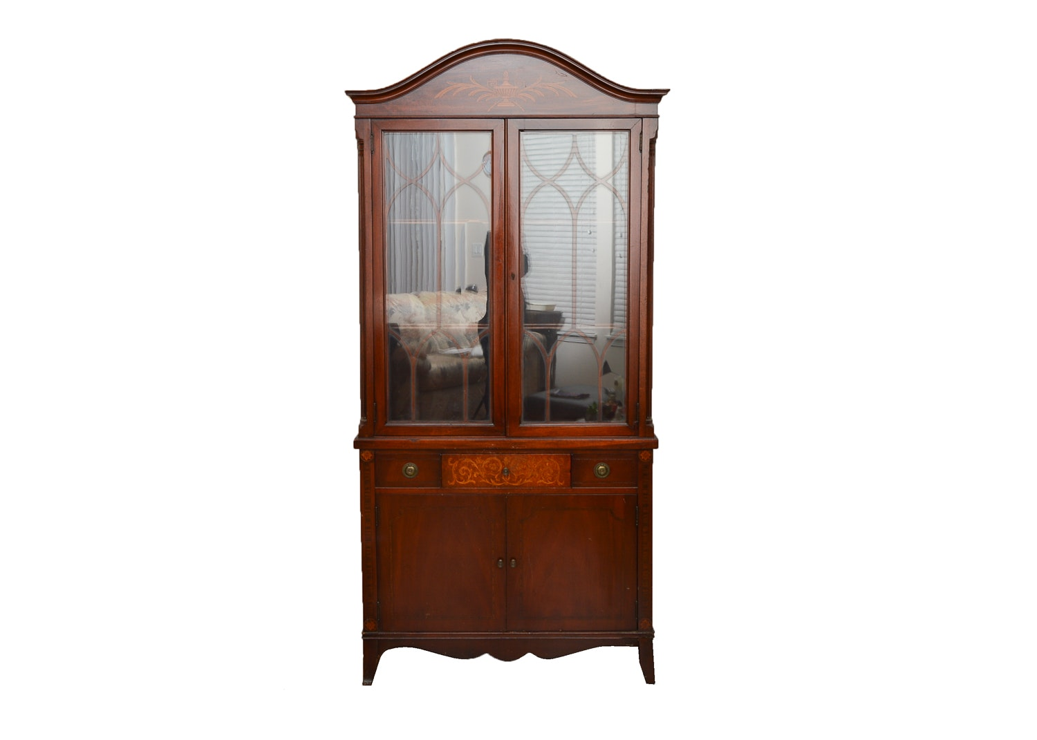 Vintage Hepplewhite-Style Inlaid Mahogany China Cabinet