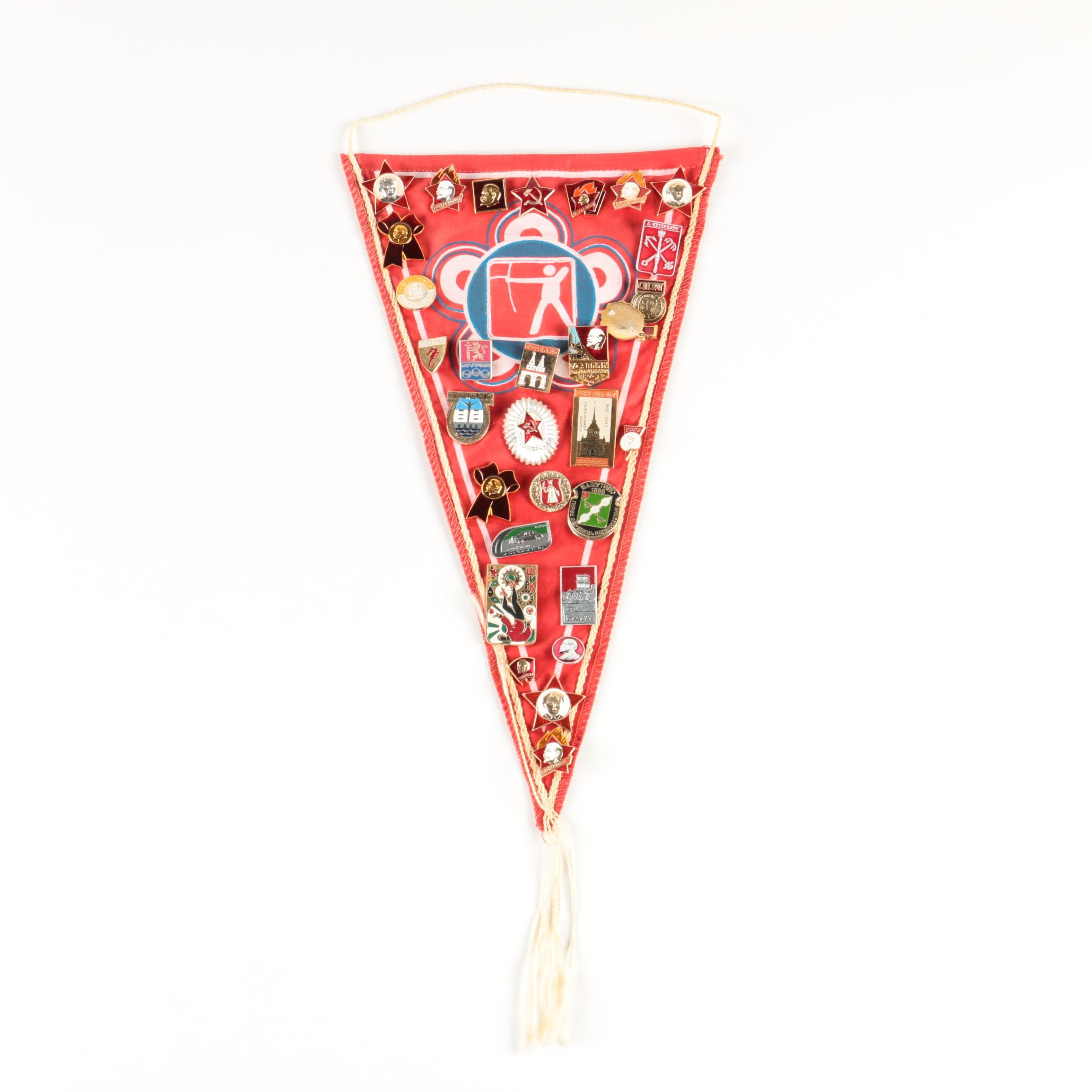 Soviet Russian Pin-Backs Displayed on Archery Pennant