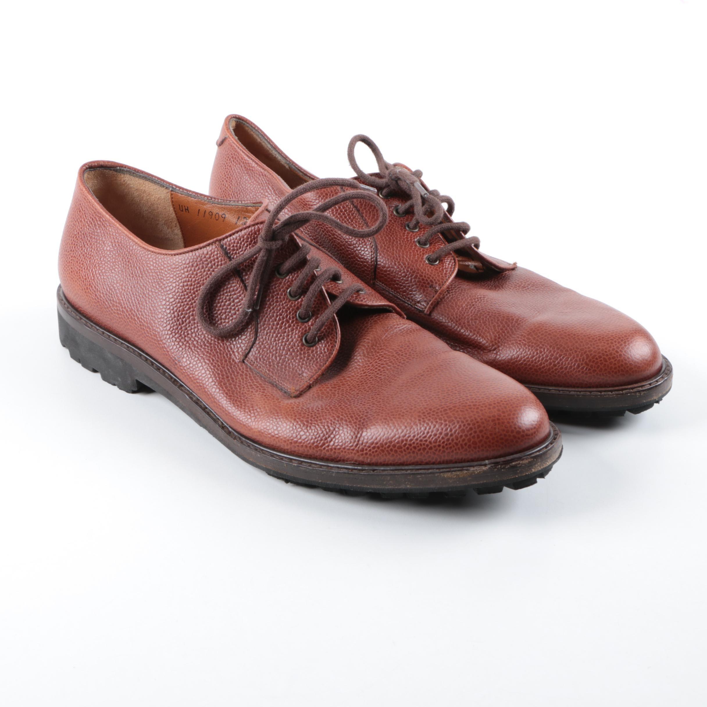 Men's Salvatore Ferragamo Brown Pebbled Leather Oxfords