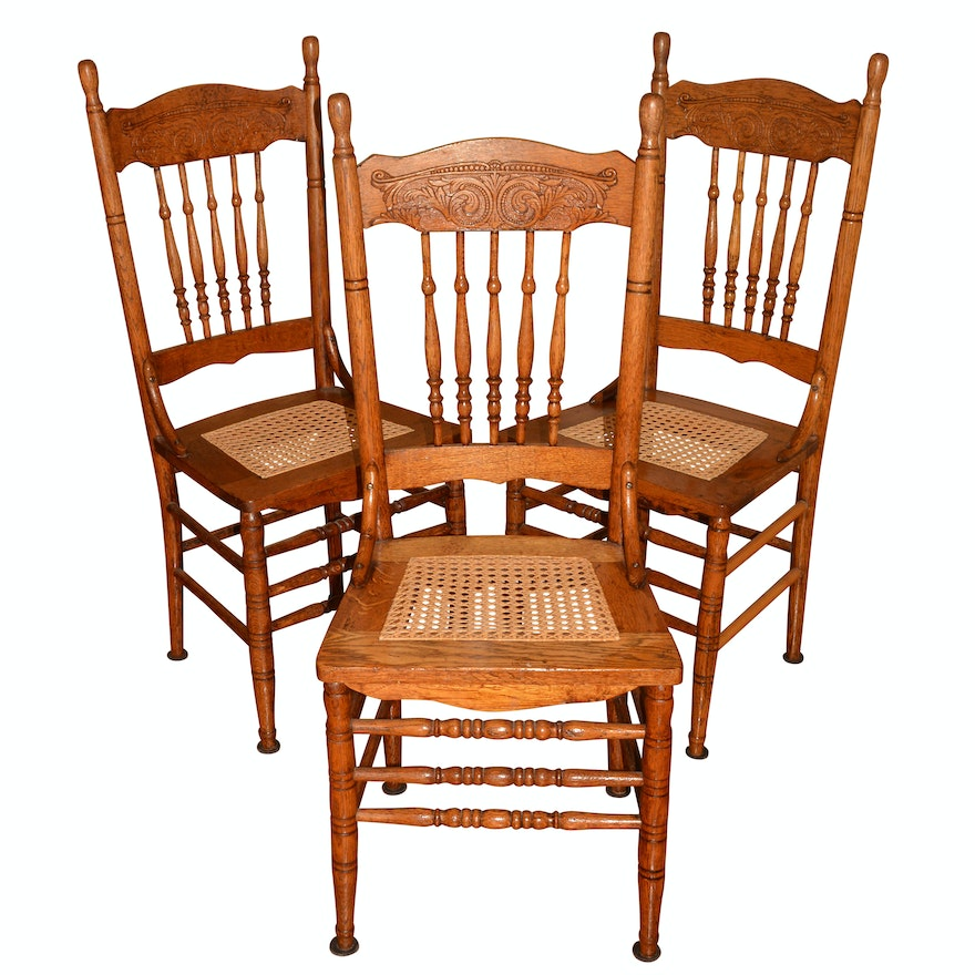 Set of Antique Oak Pressed-Back Side Chairs ... - Set Of Antique Oak Pressed-Back Side Chairs : EBTH