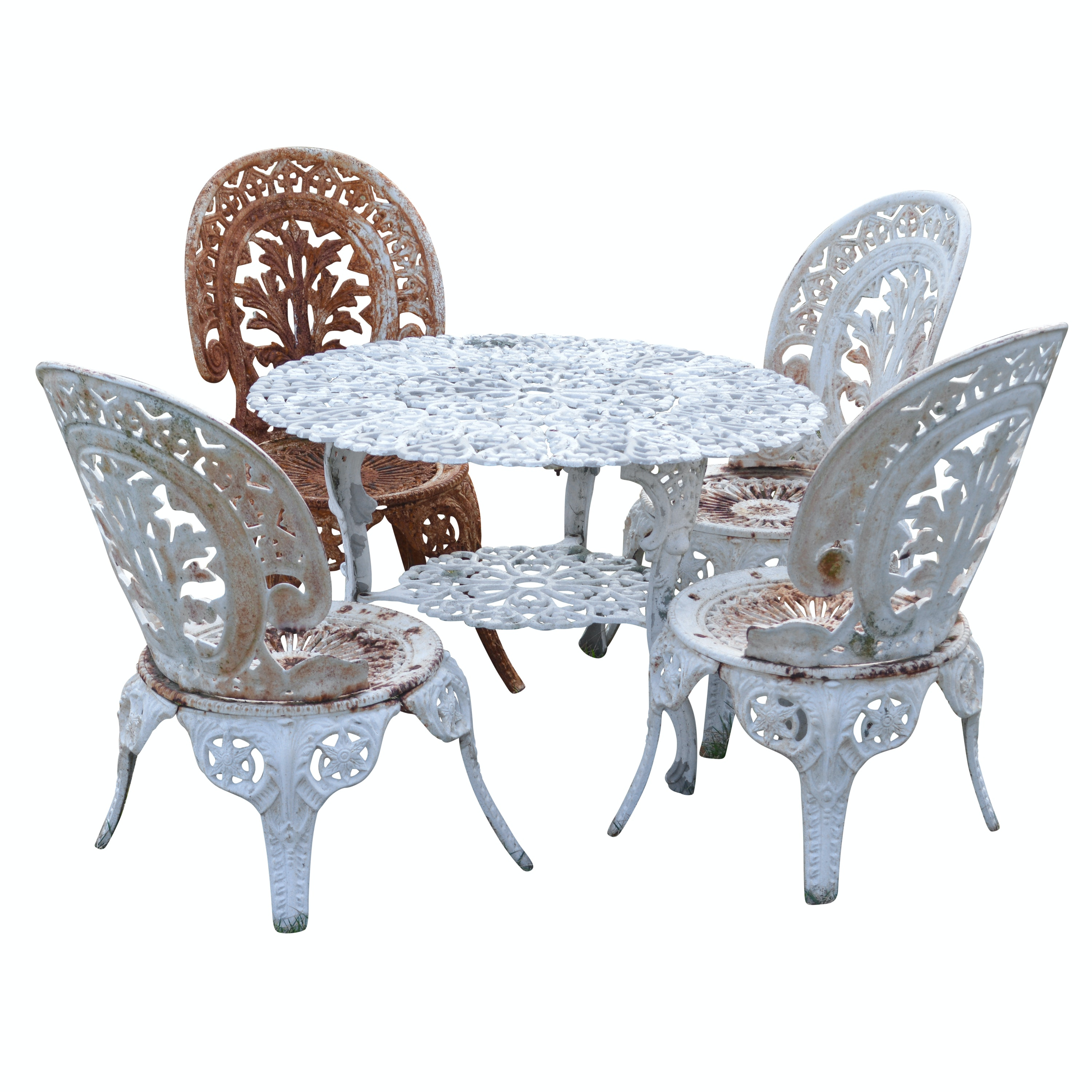 Child's Size Metal Table and Four Chairs in the Victorian Style