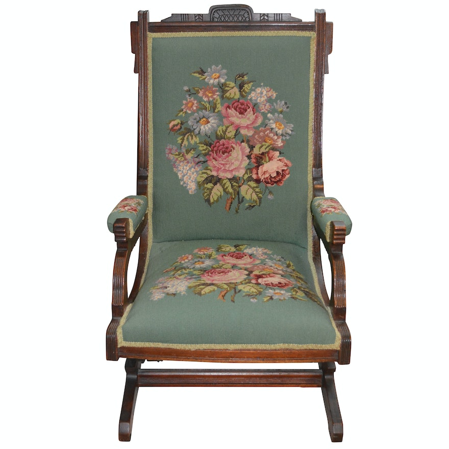 Eastlake Platform Rocking Chair With Needlepoint Ebth
