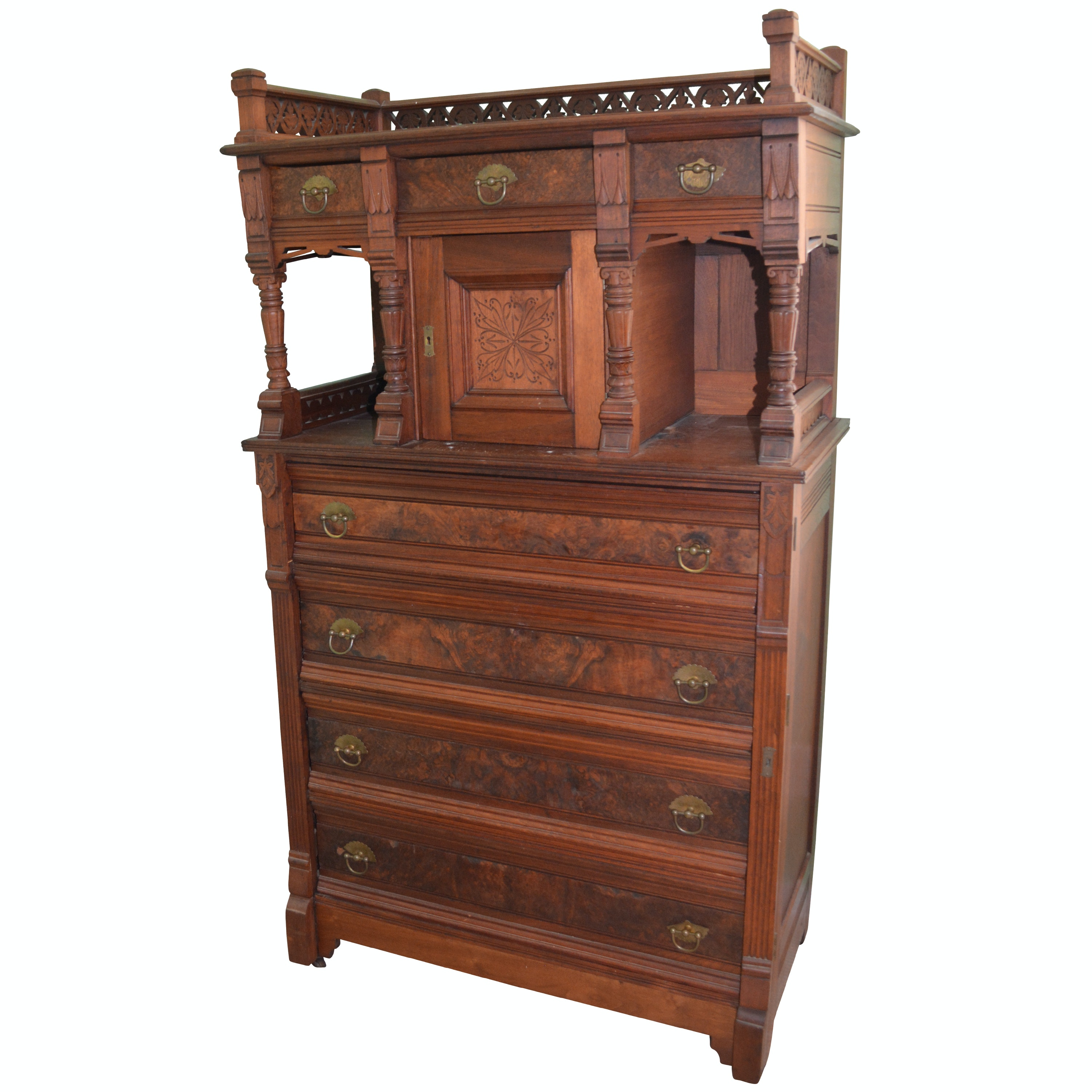 Aesthetic-Movement Walnut Tall Chest of Drawers