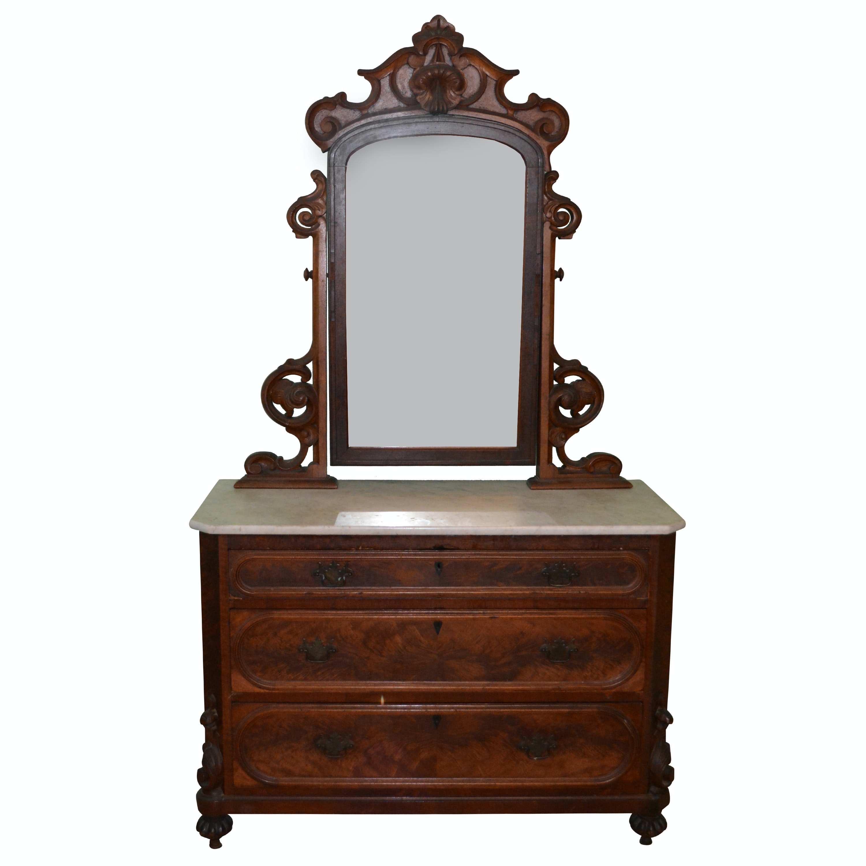 Antique Early Victorian Chest of Drawers with Mirror