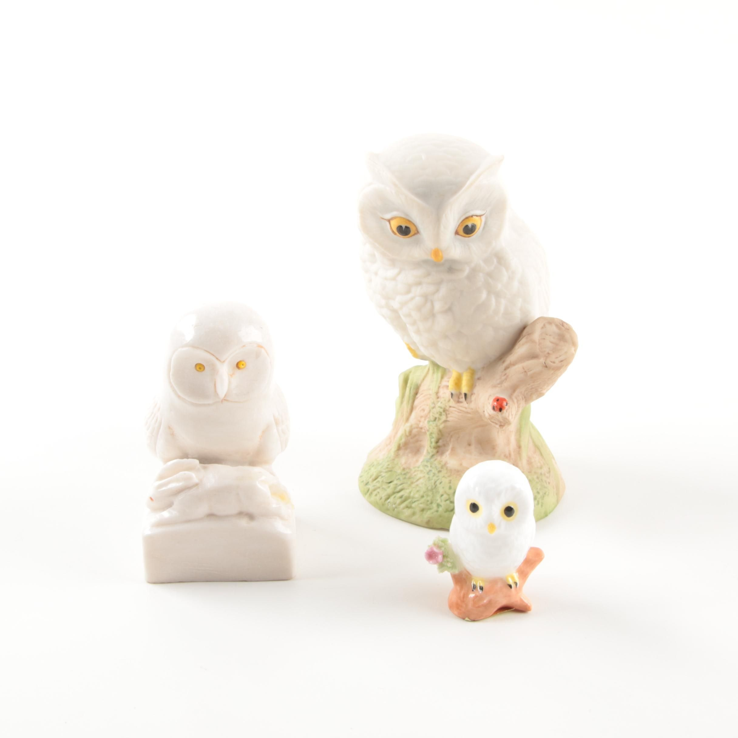 Owl Figurines featuring Carved Alabaster and Porcelain by Aynsley