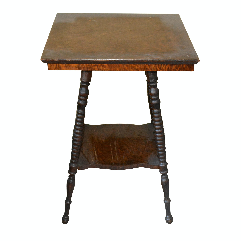 Antique Oak Square Lamp Table