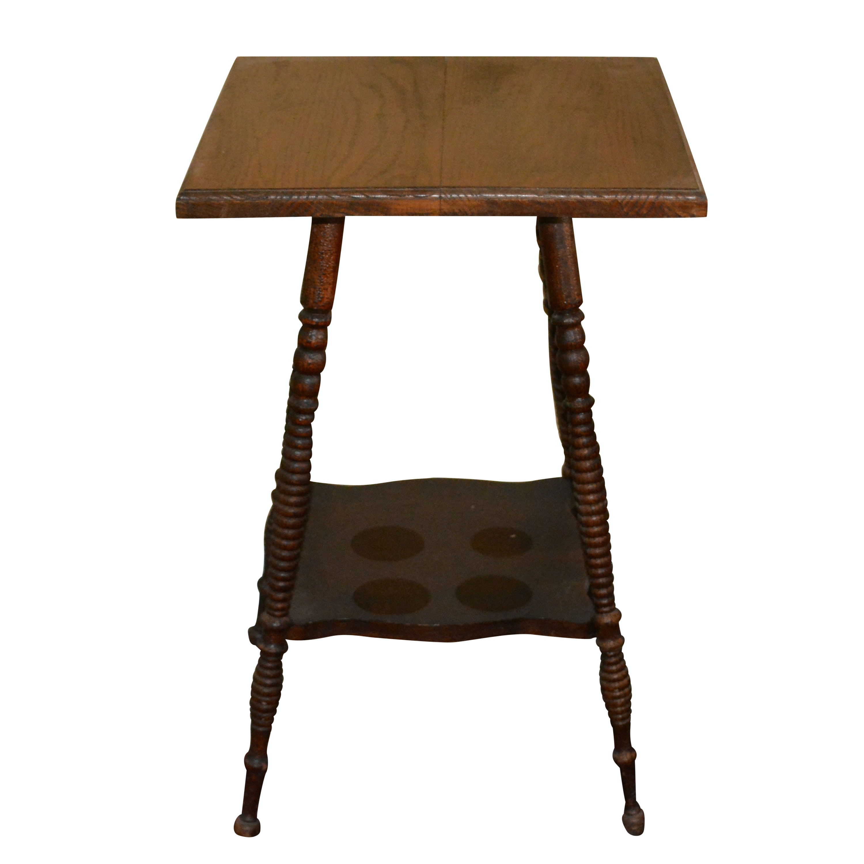 Antique Oak Square Tiered Table
