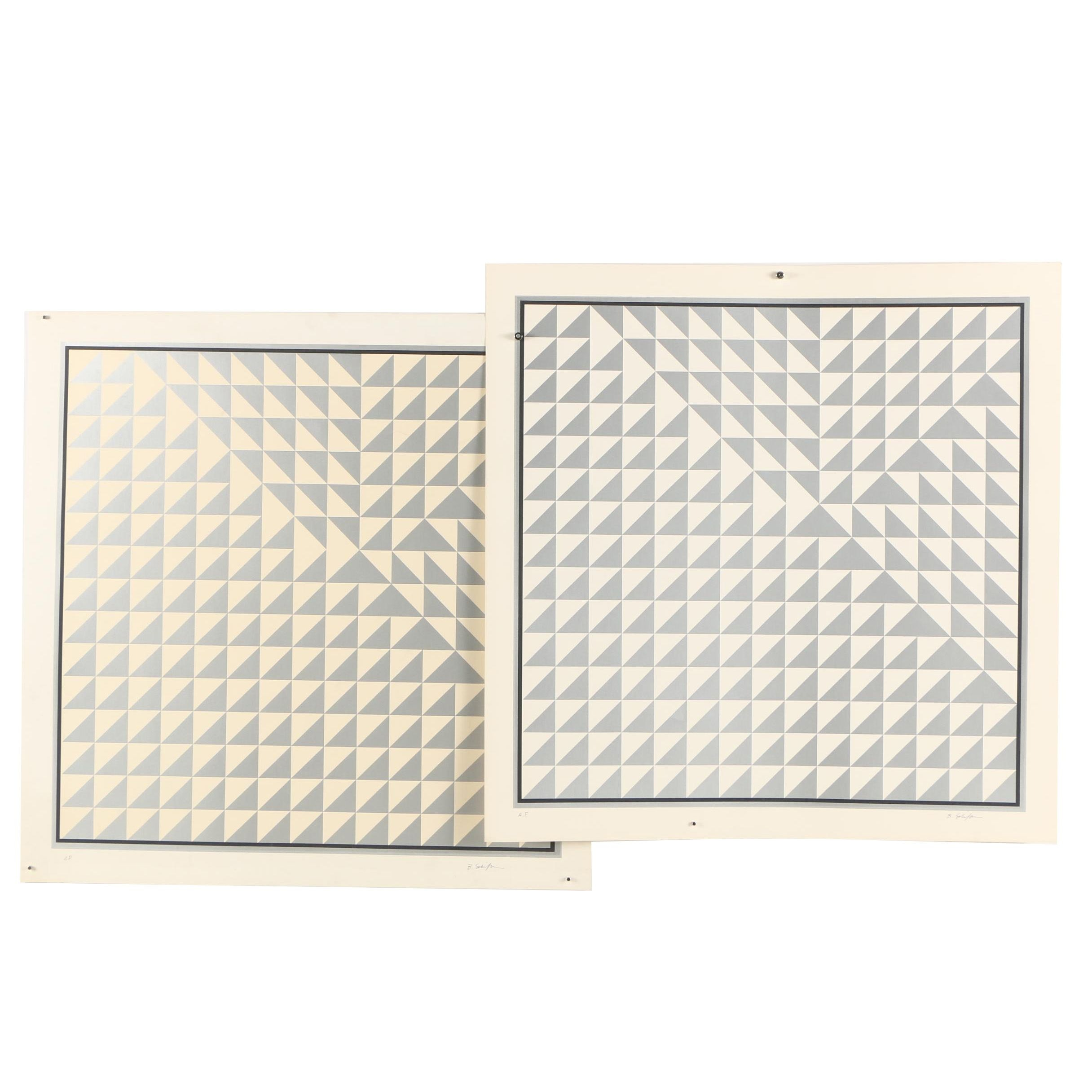 Bill Schiffer Op Art Serigraphs of Triangular Patterns
