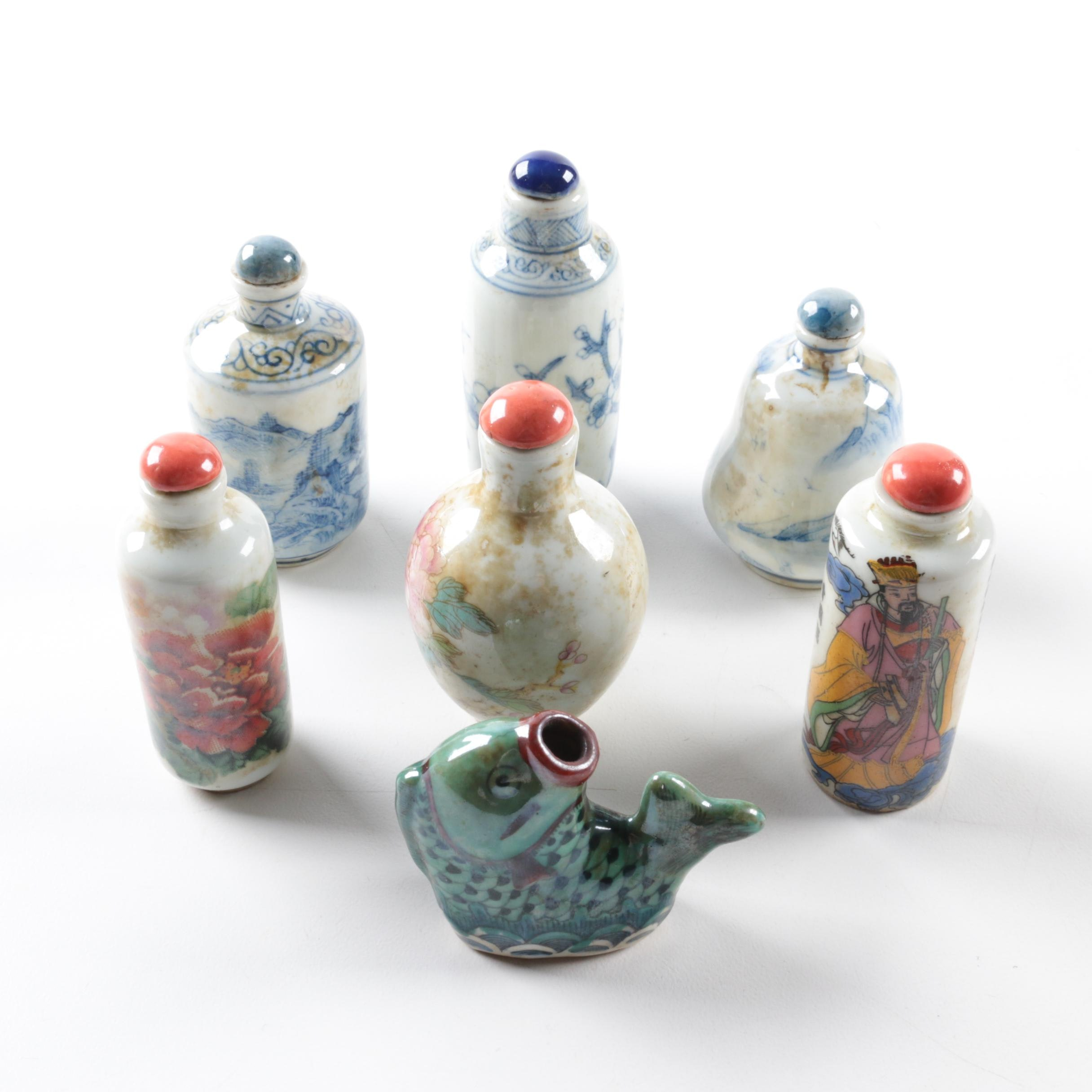 Chinese Porcelain Snuff Bottles Including Figural Fish