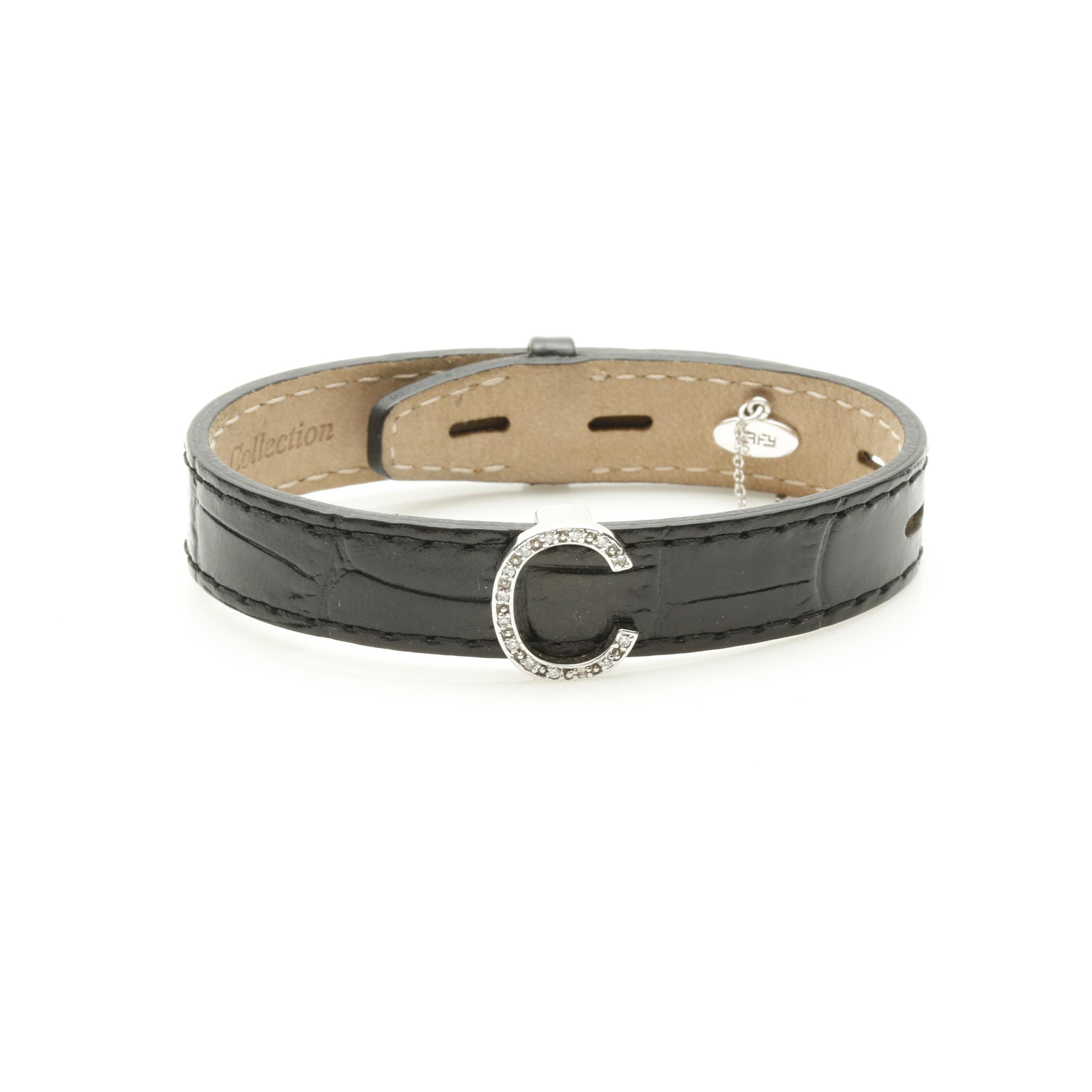 Effy 14K White Gold Diamond and Leather Initial Bracelet