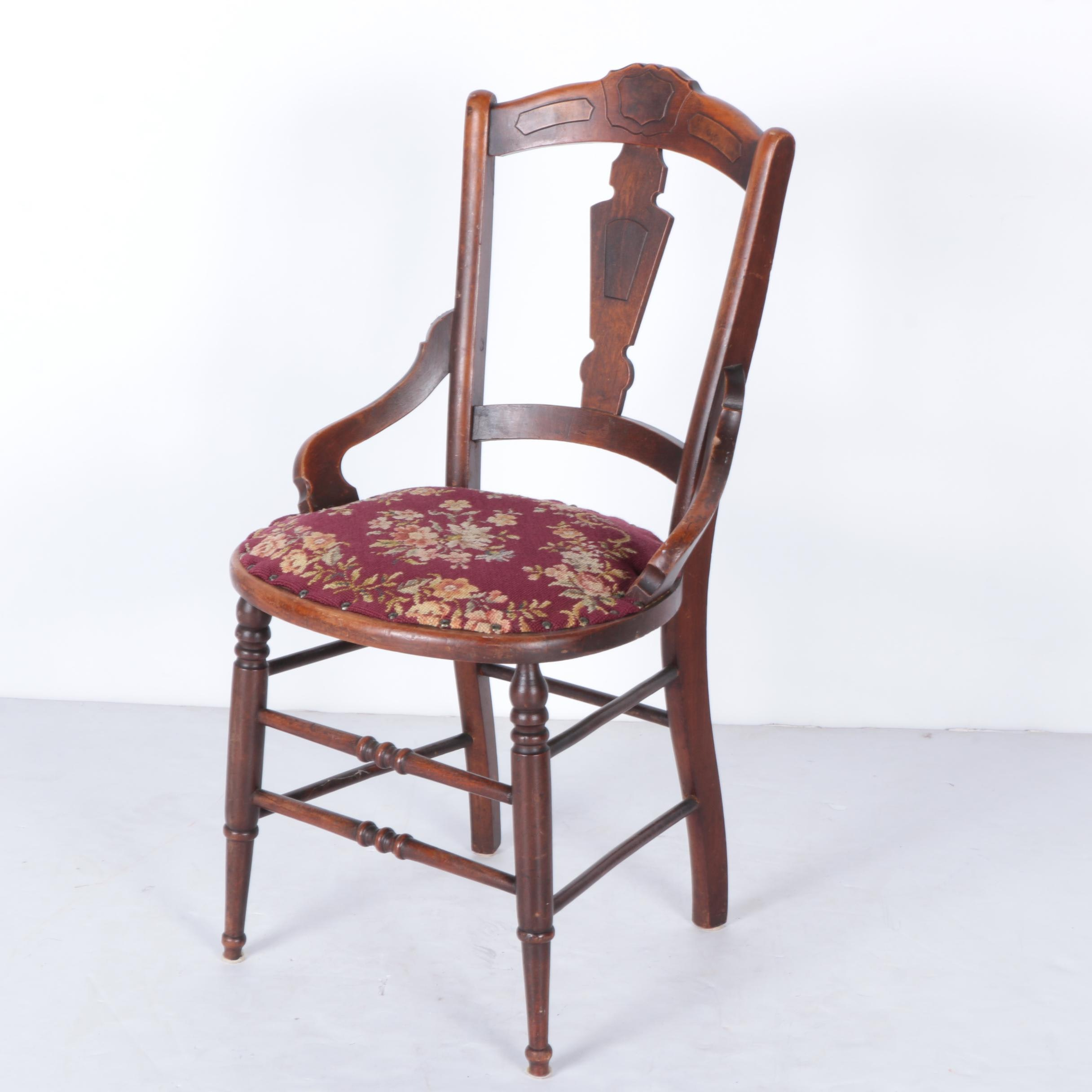 Victorian Walnut Side Chair With Needlepoint Seat ...