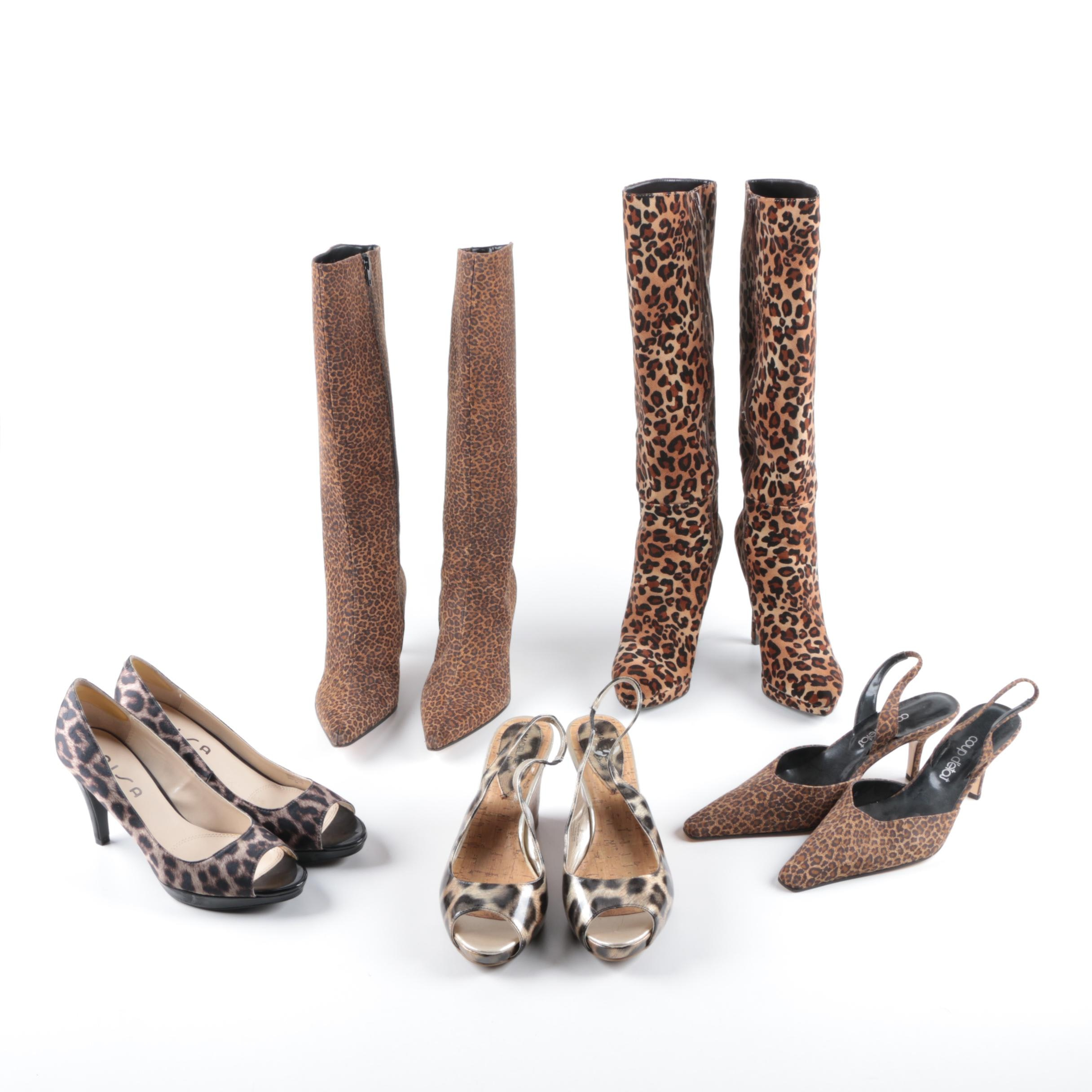 Women's Animal Print Heels, Slingbacks and Boots
