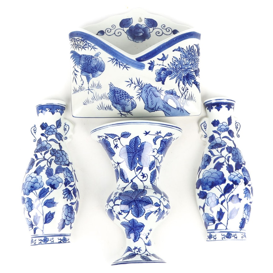 Blue And White Ceramic Wall Vases And A Letter Box Ebth
