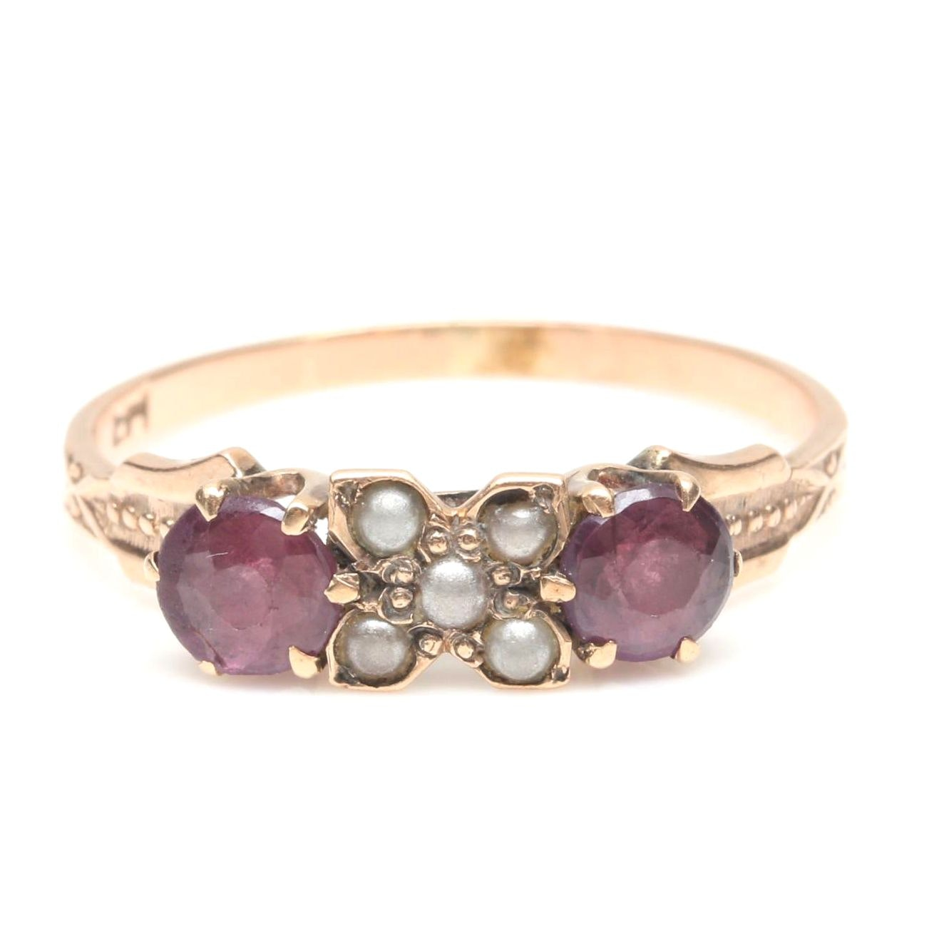 10K Rose Gold Garnet and Glass Doublet and Imitation Pearl Ring