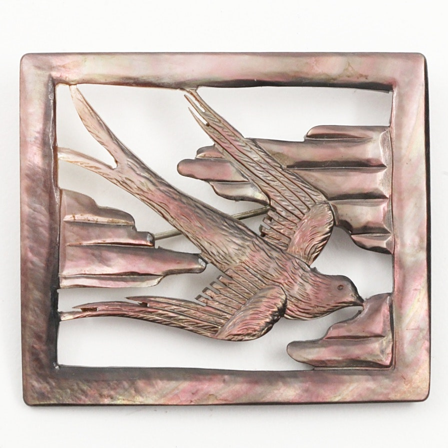 Mother of Pearl Swallow Pin and Chamois Leather Jewelry Box