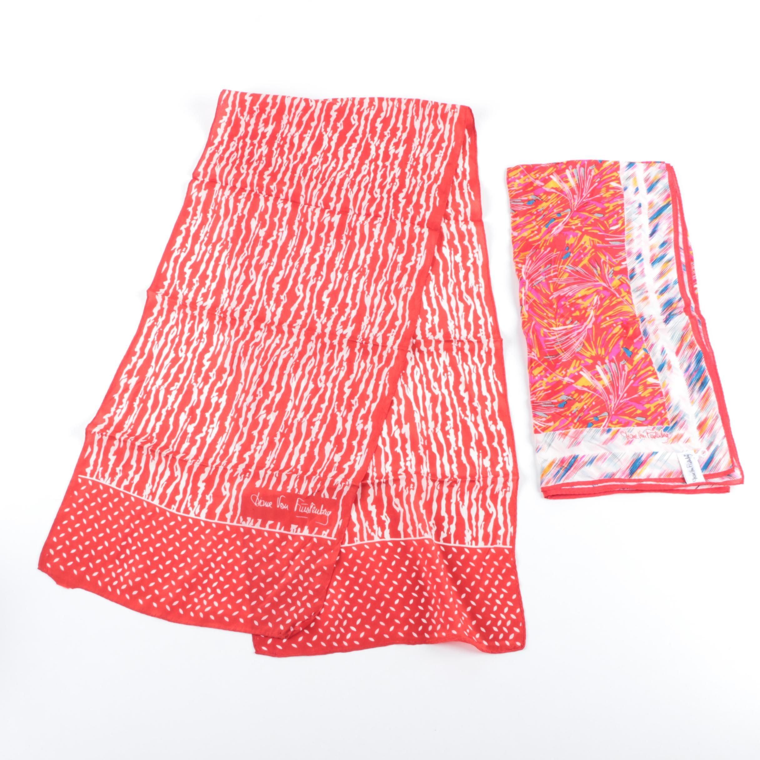 Two Diane Von Furstenberg Silk Scarves