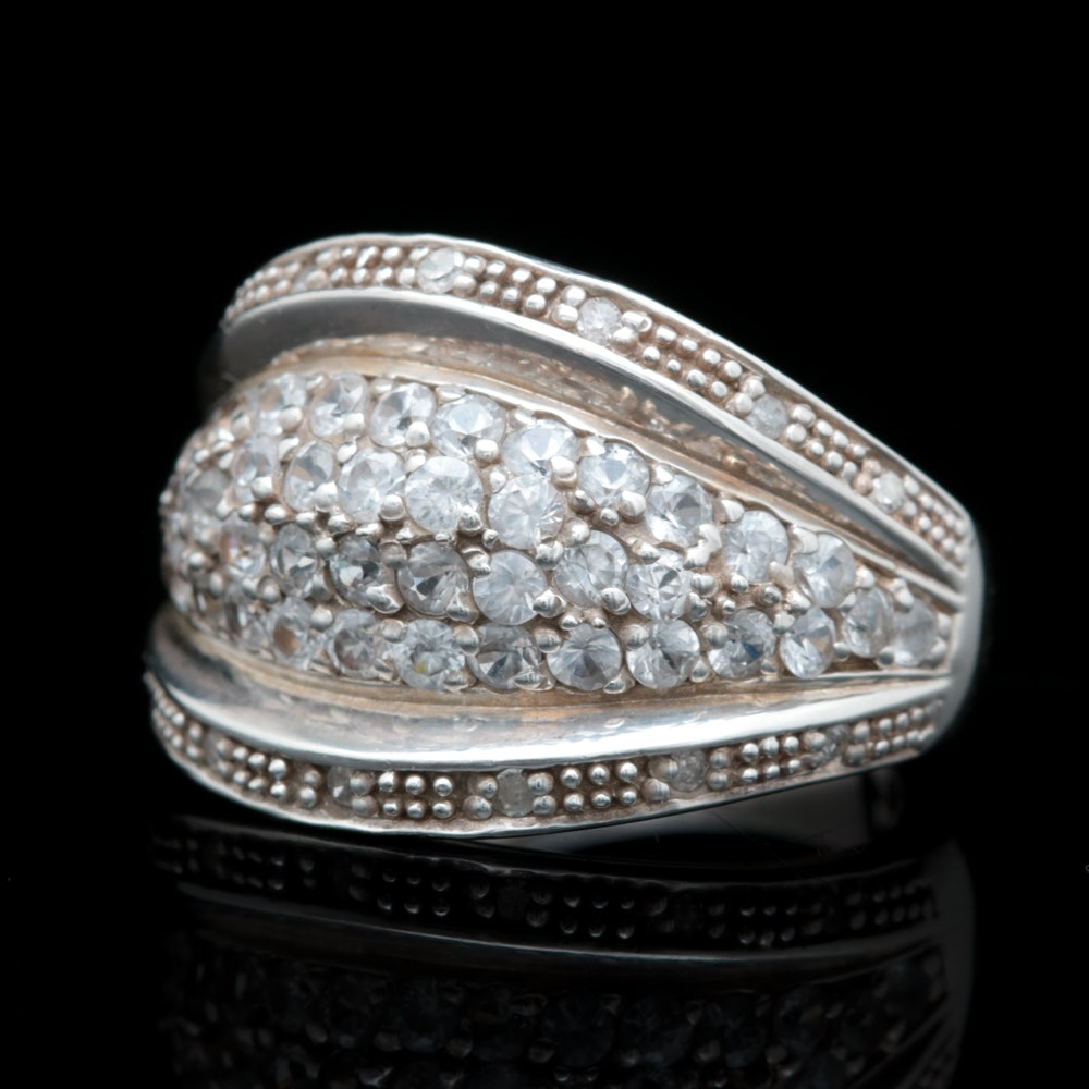Sterling Silver, White Zircon and Diamond Ring